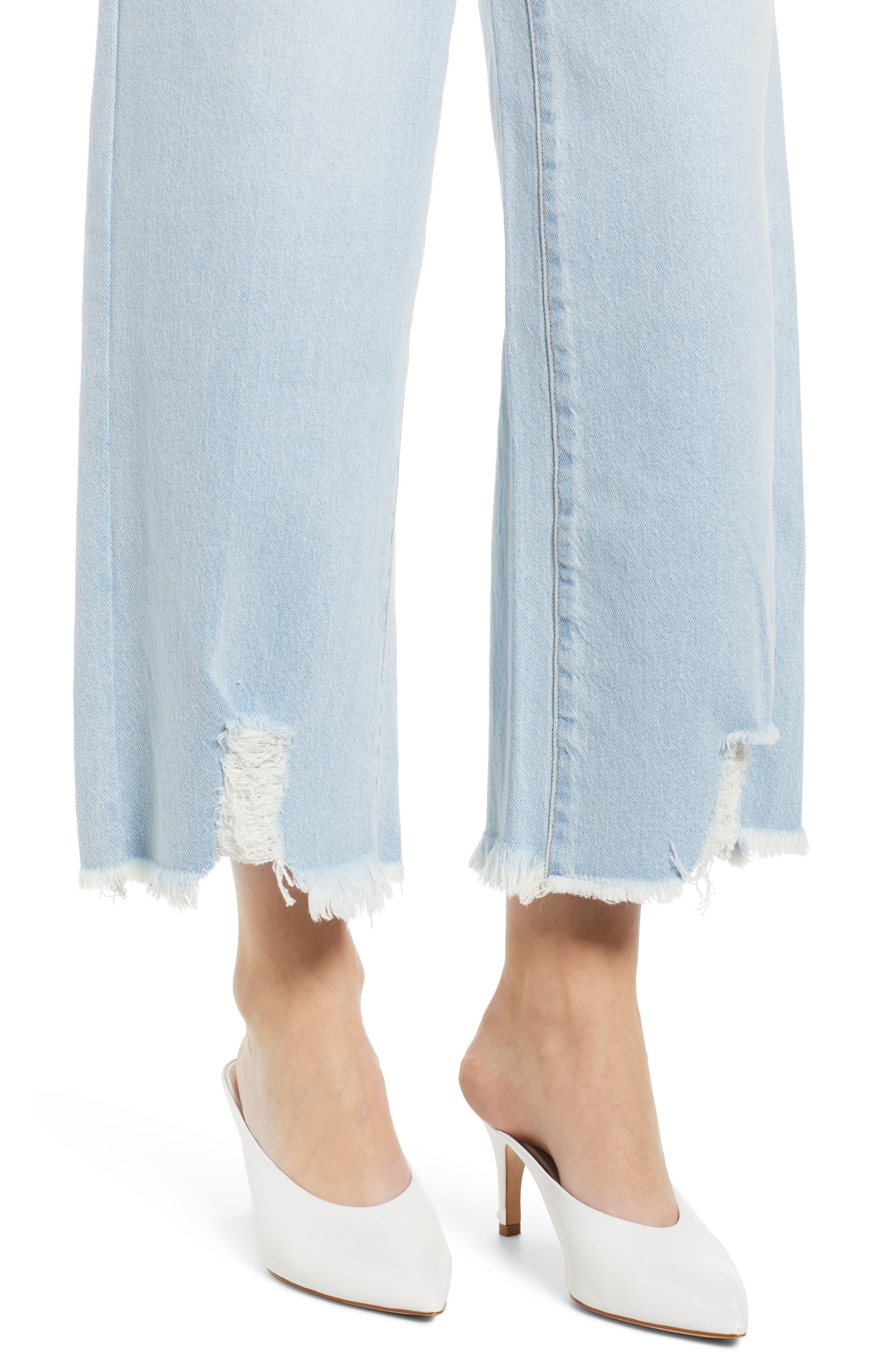 PROSPERITY DENIM, Fray Hem Wide Leg Crop Jeans, Alternate thumbnail 5, color, LIGHT WASH