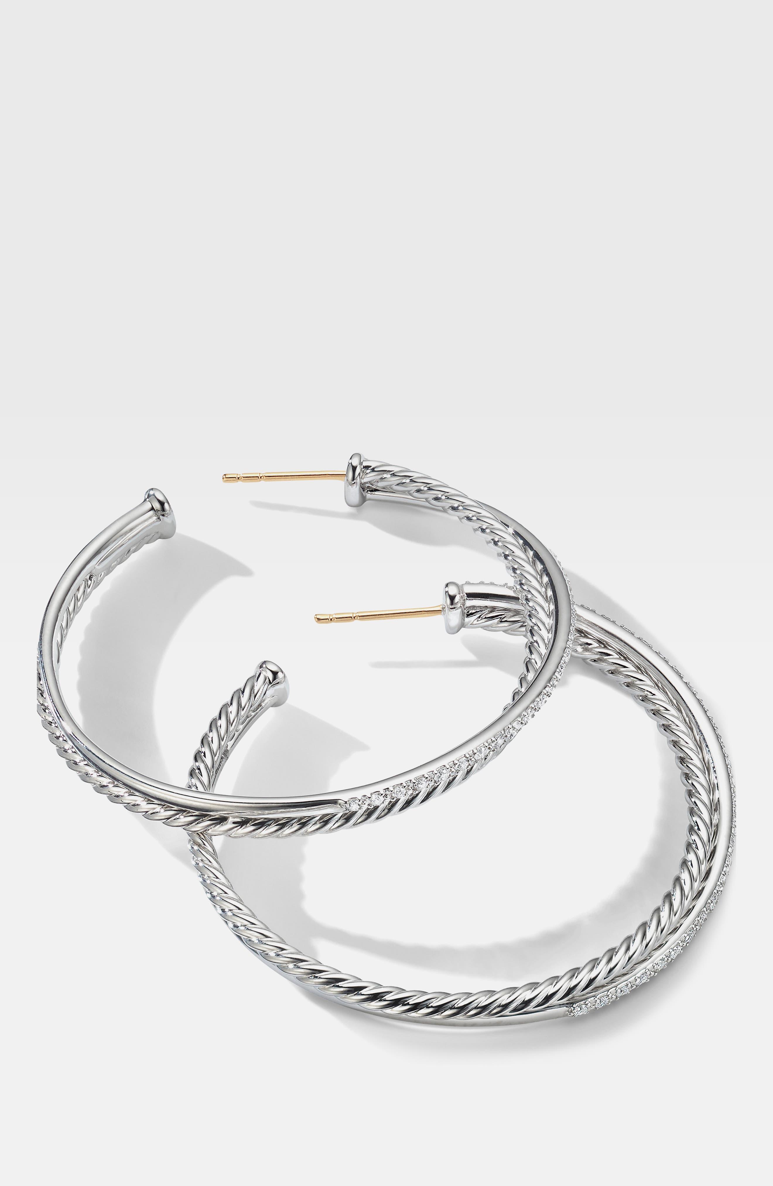 DAVID YURMAN, Extra Large Crossover Hoop Earrings with Diamonds, Alternate thumbnail 2, color, SILVER/ DIAMOND