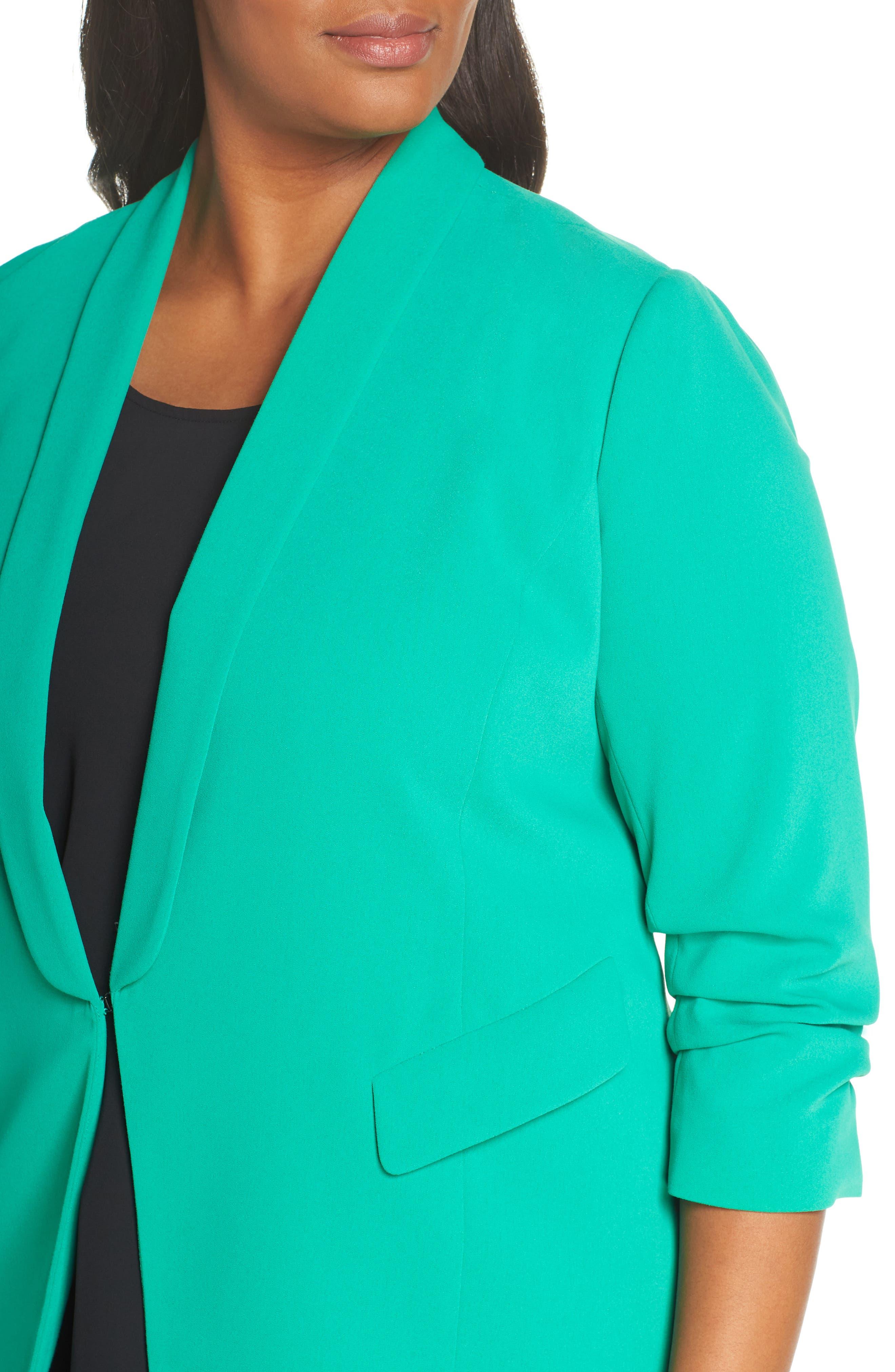 SEJOUR, Gathered Sleeve Blazer, Alternate thumbnail 5, color, GREEN PARAKEET