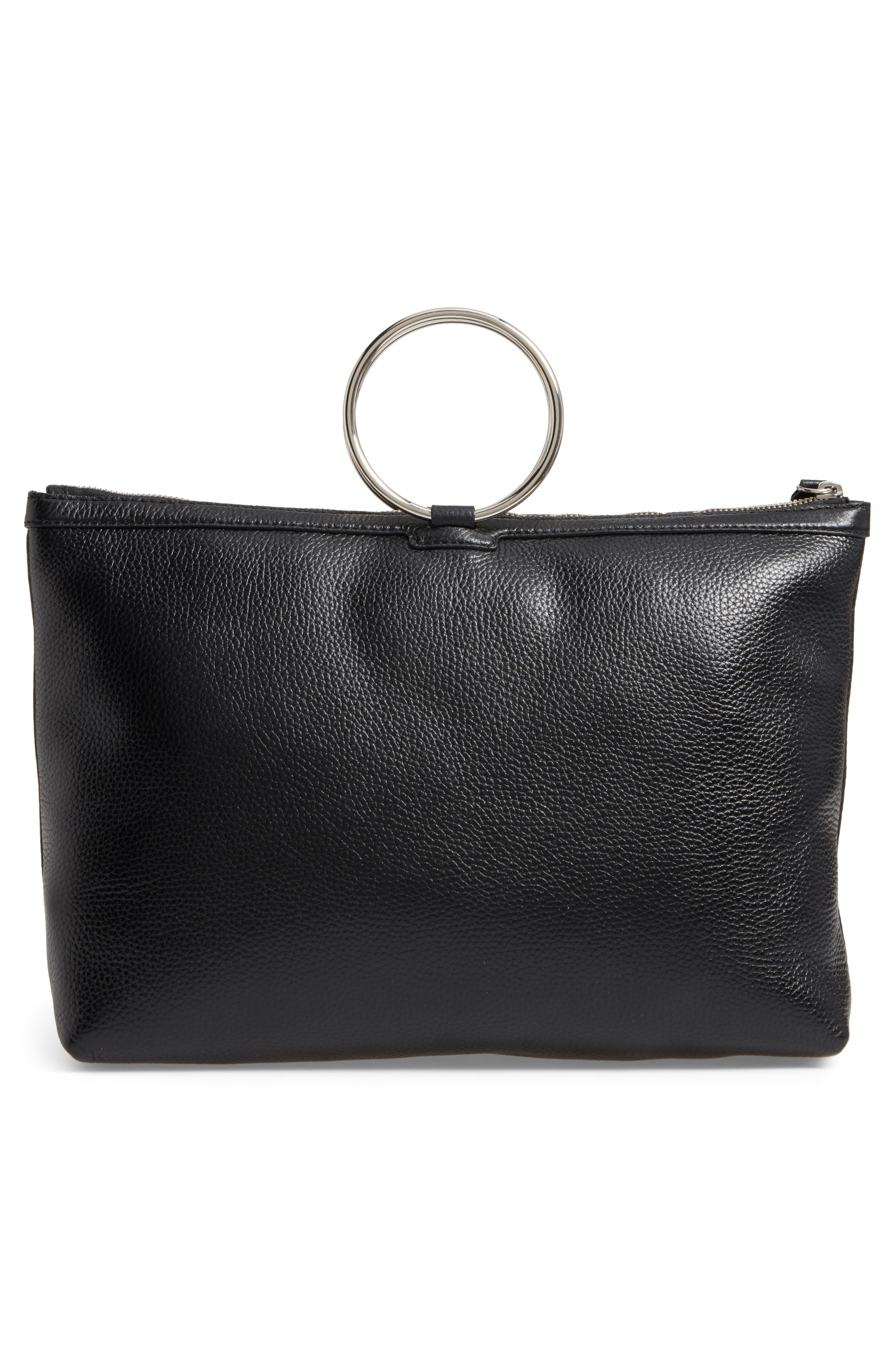 KARA, Large Pebbled Leather Ring Clutch, Alternate thumbnail 3, color, 001