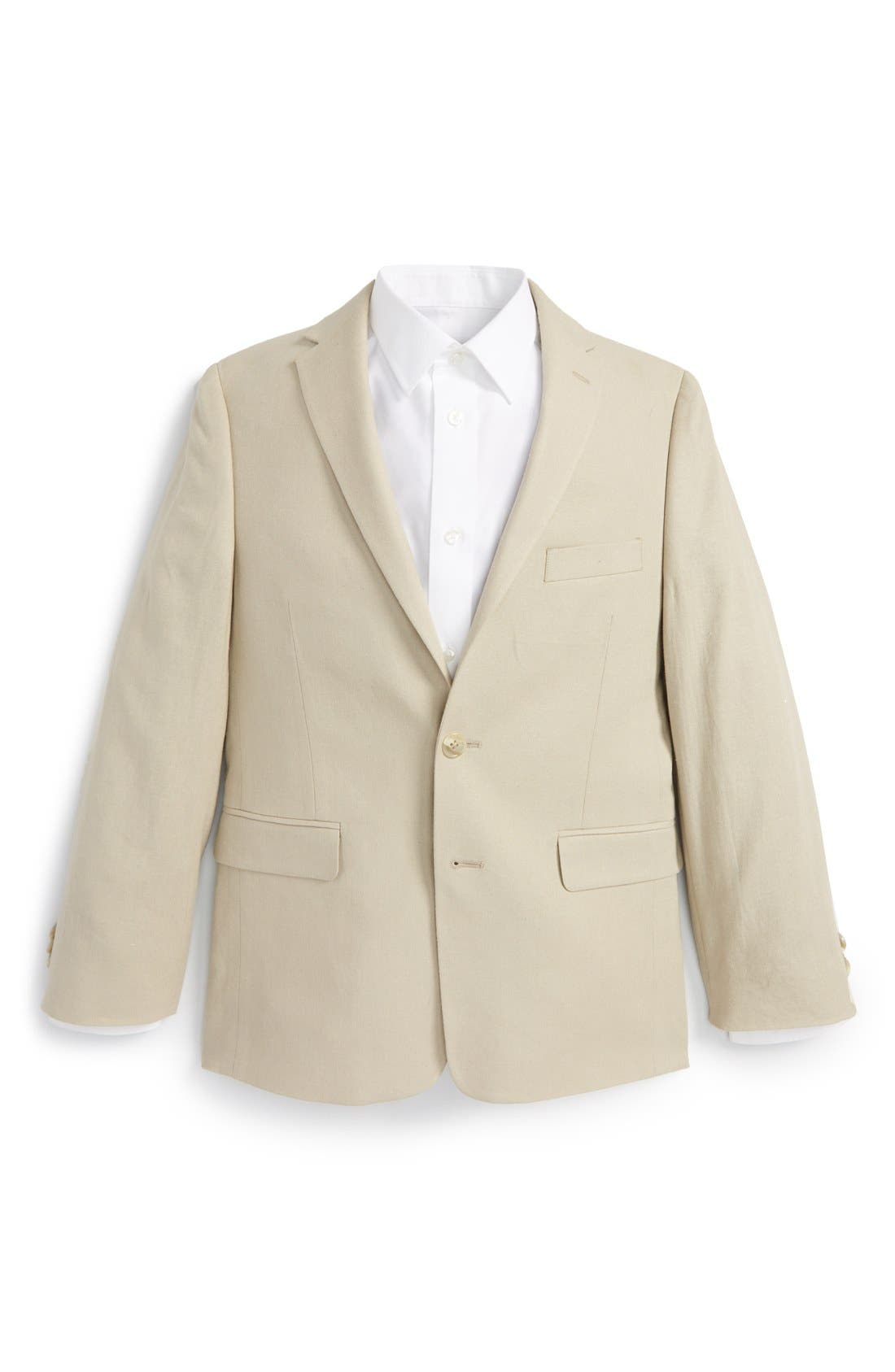 MICHAEL KORS, Linen Blend Blazer, Main thumbnail 1, color, TAN