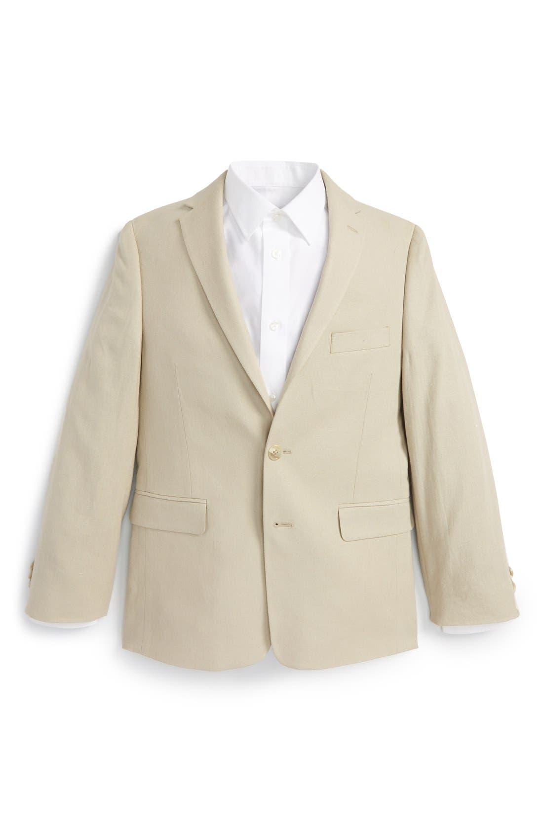MICHAEL KORS Linen Blend Blazer, Main, color, TAN