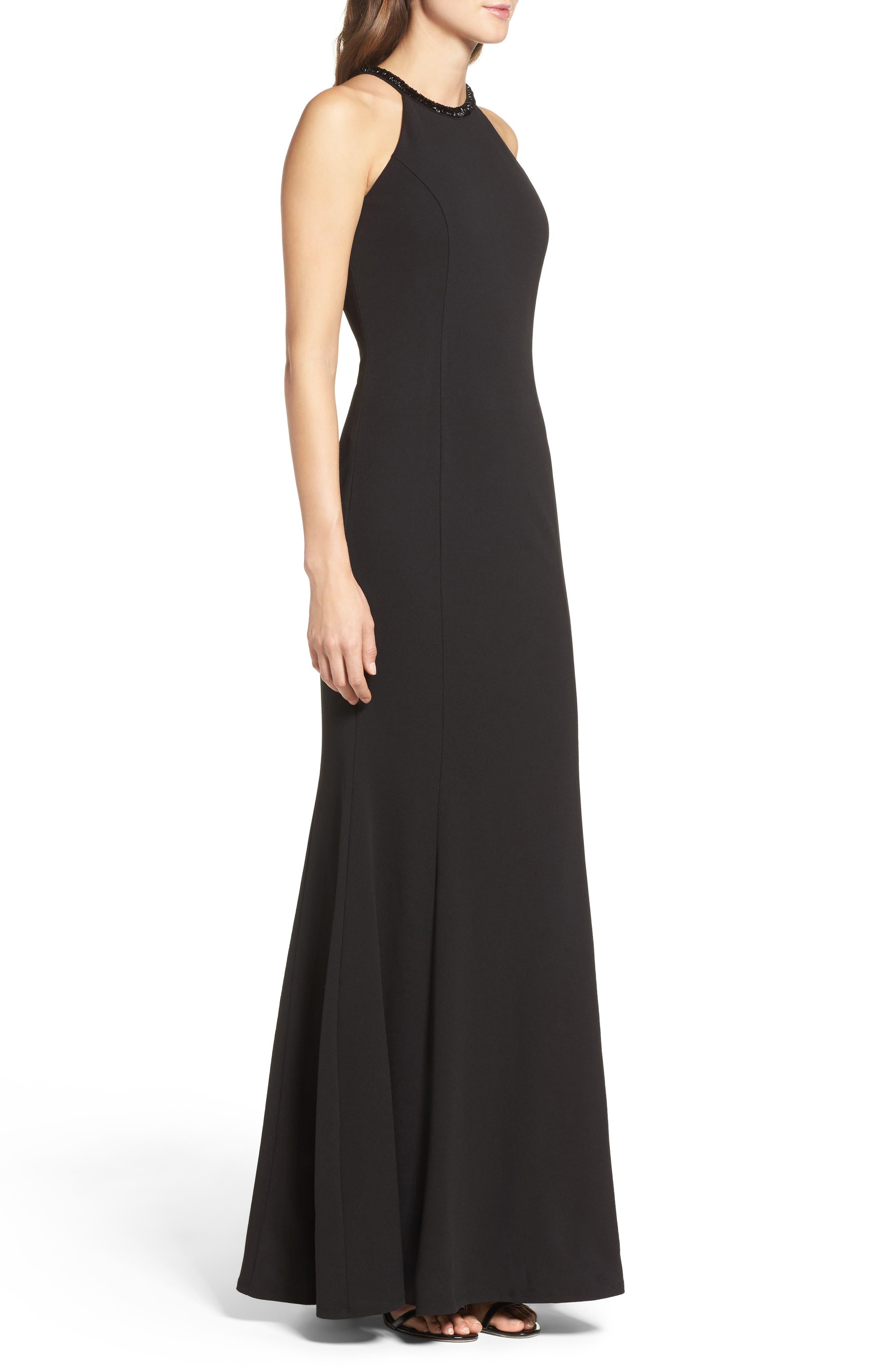 LULUS, Bead Neck Mermaid Gown, Alternate thumbnail 4, color, BLACK