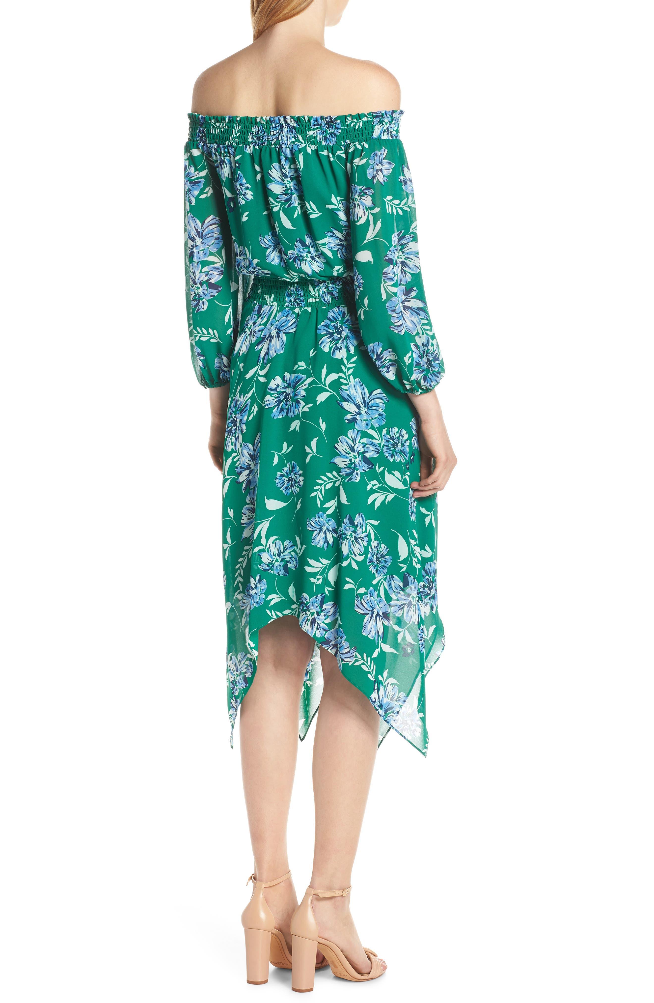 CHARLES HENRY, Smocked Handkerchief Hem Dress, Alternate thumbnail 2, color, KELLY GREEN FLORAL