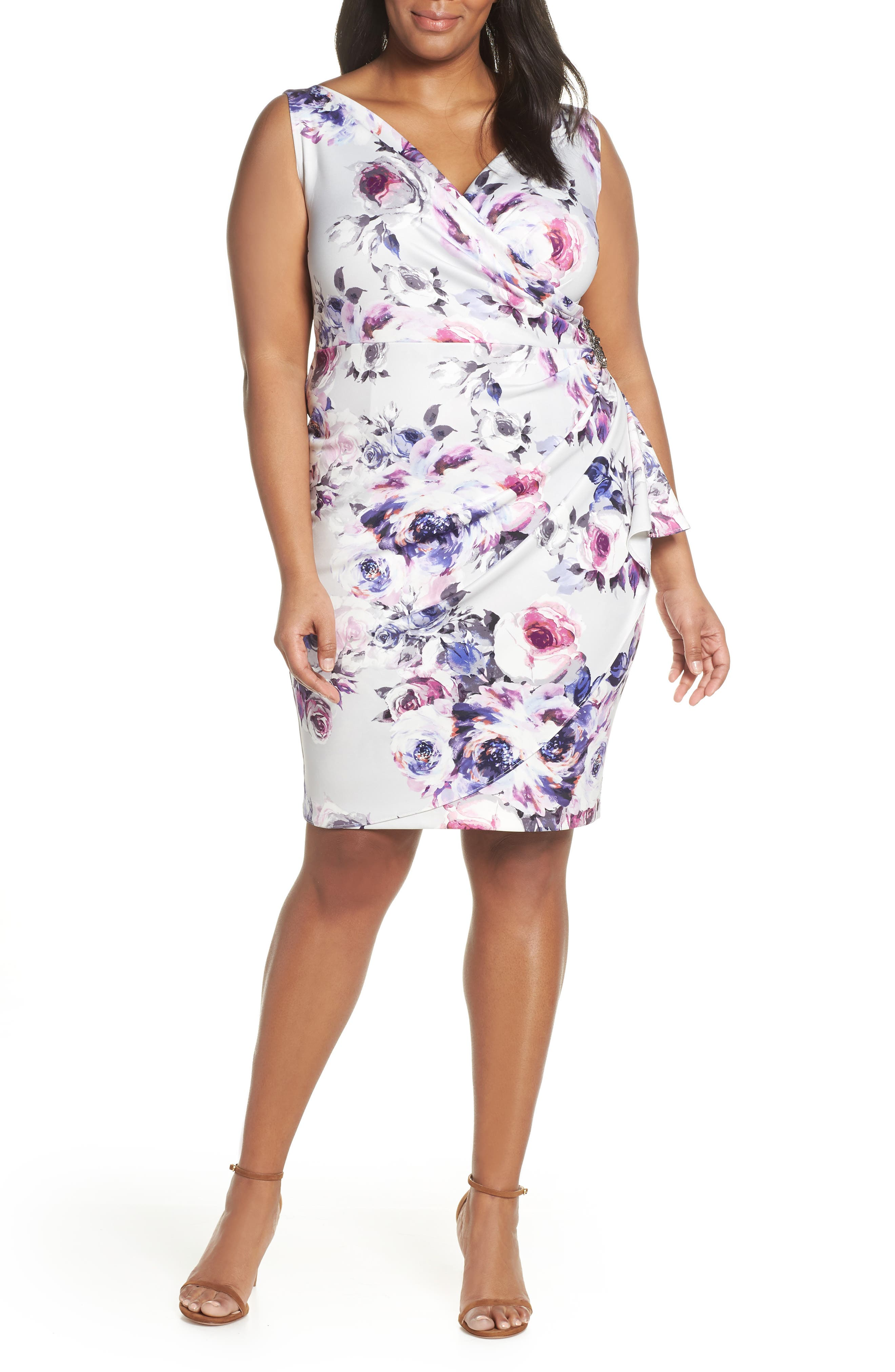 Plus Size Alex Evenings Side Ruched Cocktail Dress, Ivory