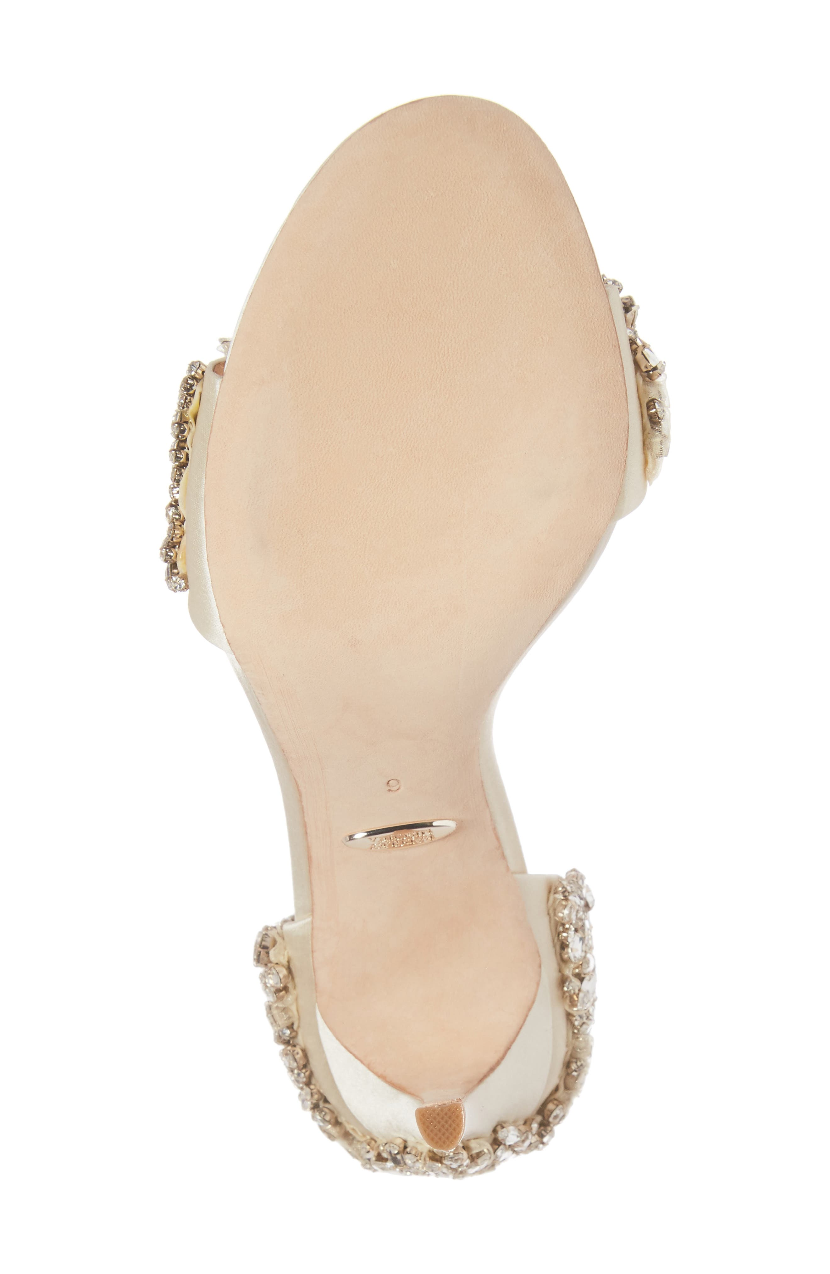 BADGLEY MISCHKA COLLECTION, Badgley Mischka Tampa Ankle Strap Sandal, Alternate thumbnail 6, color, IVORY SATIN