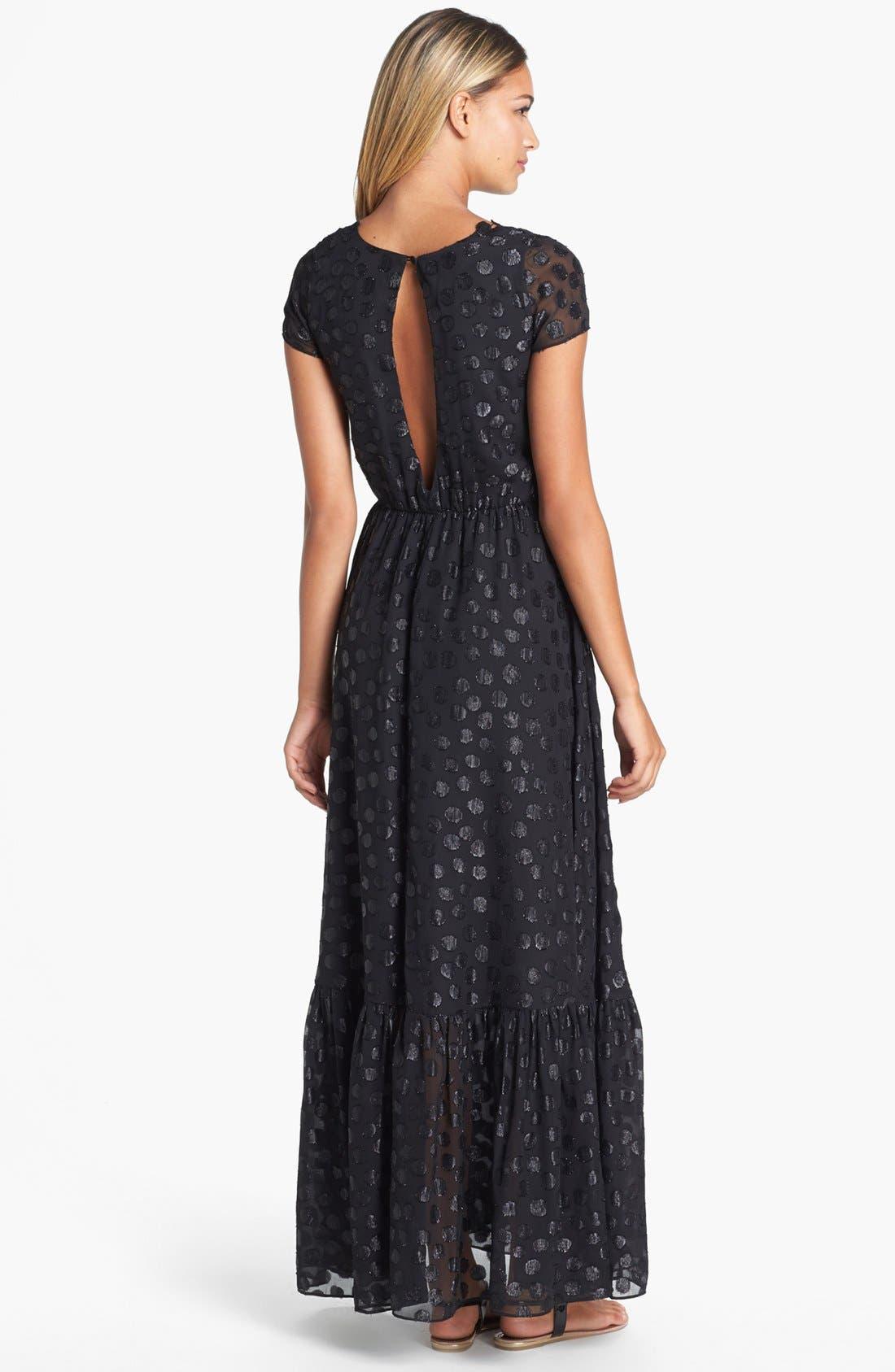 DRESS THE POPULATION, 'Evan' Metallic Dot Maxi Dress, Alternate thumbnail 2, color, 001
