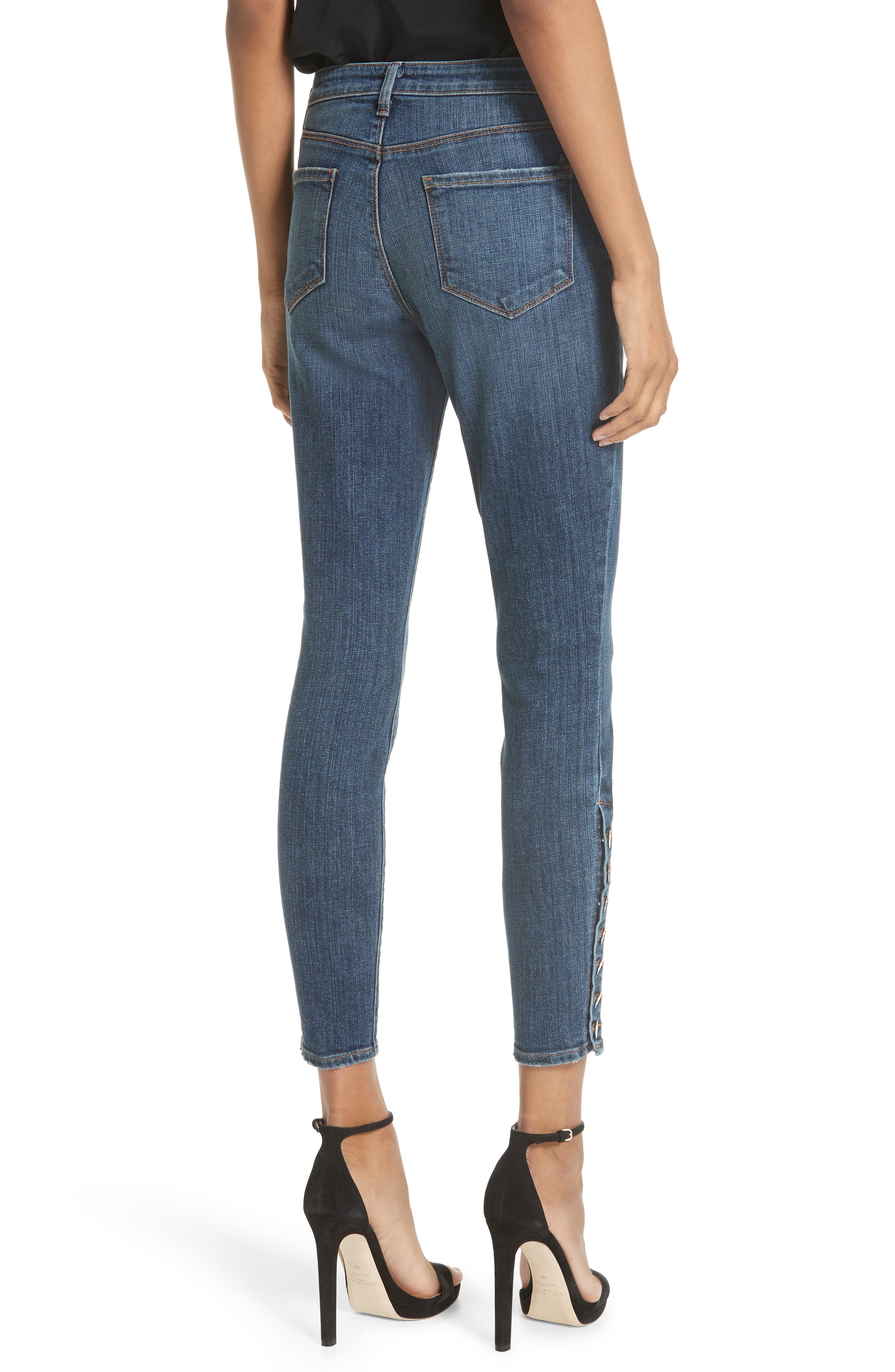 L'AGENCE, Piper Button Hem Skinny Jeans, Alternate thumbnail 2, color, CLASSIC VINTAGE