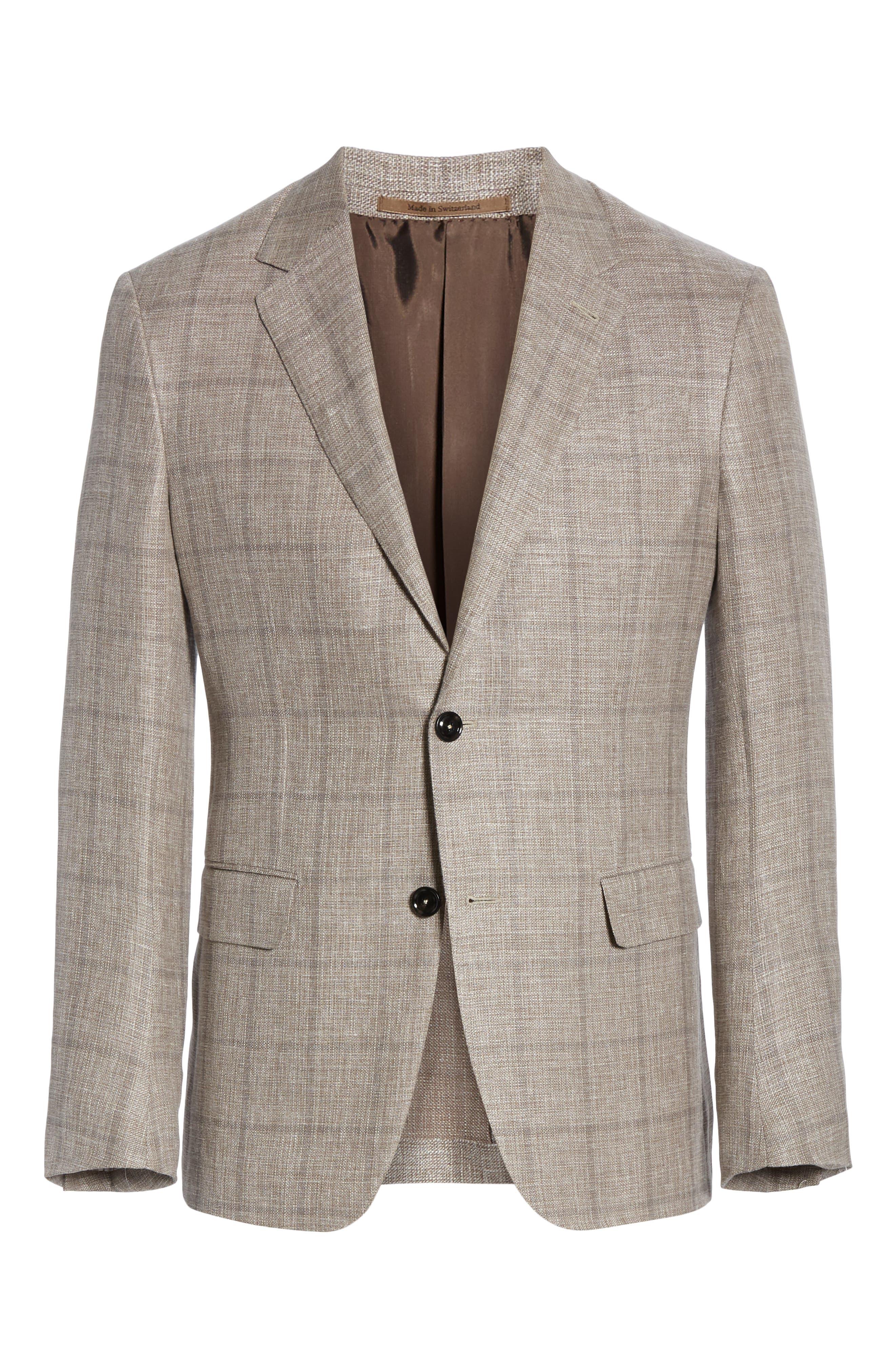 ERMENEGILDO ZEGNA, Milano Classic Fit Windowpane Linen Blend Sport Coat, Alternate thumbnail 5, color, TAN