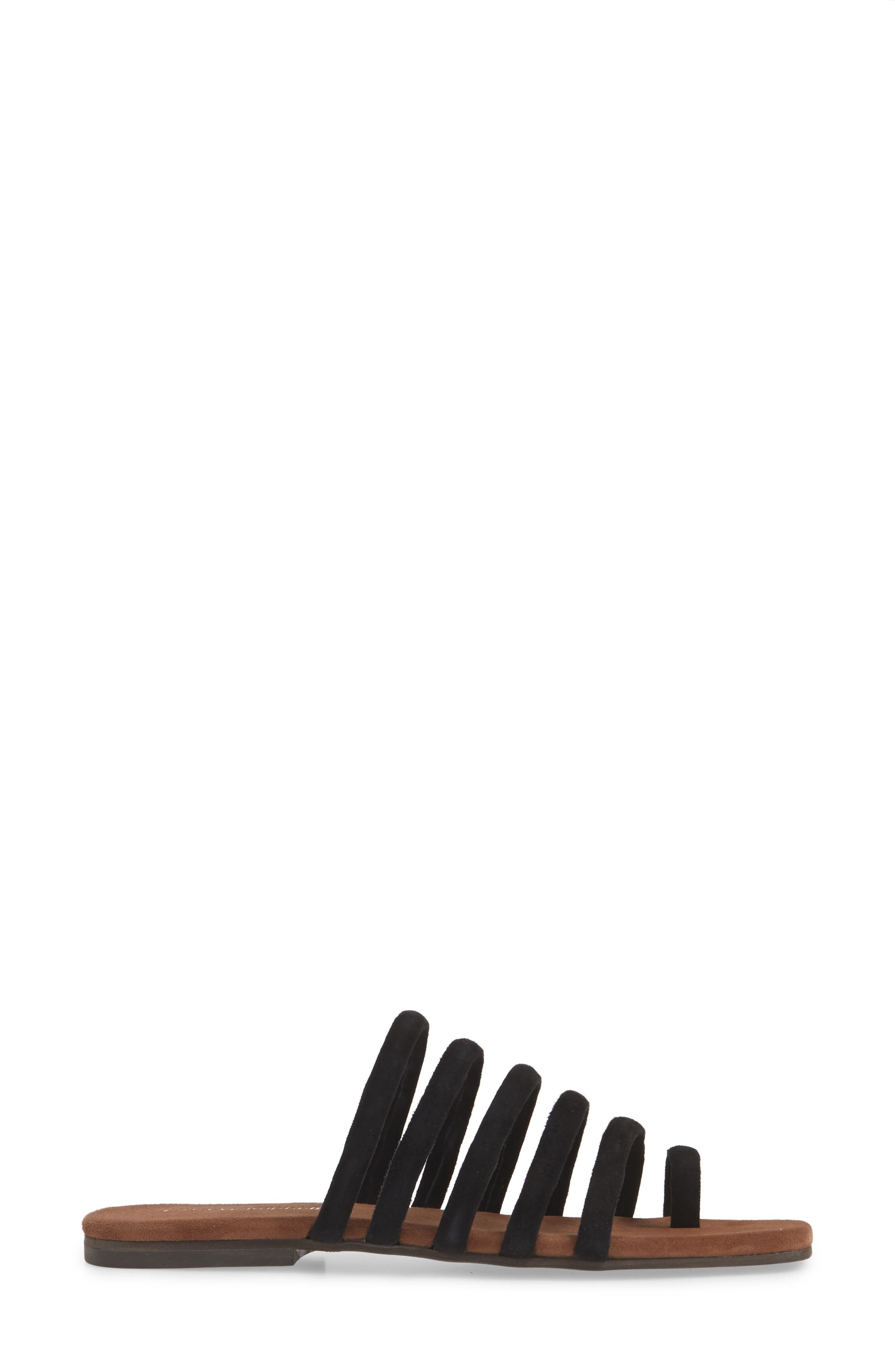 JEFFREY CAMPBELL, Coniper Slide Sandal, Alternate thumbnail 3, color, BLACK SUEDE