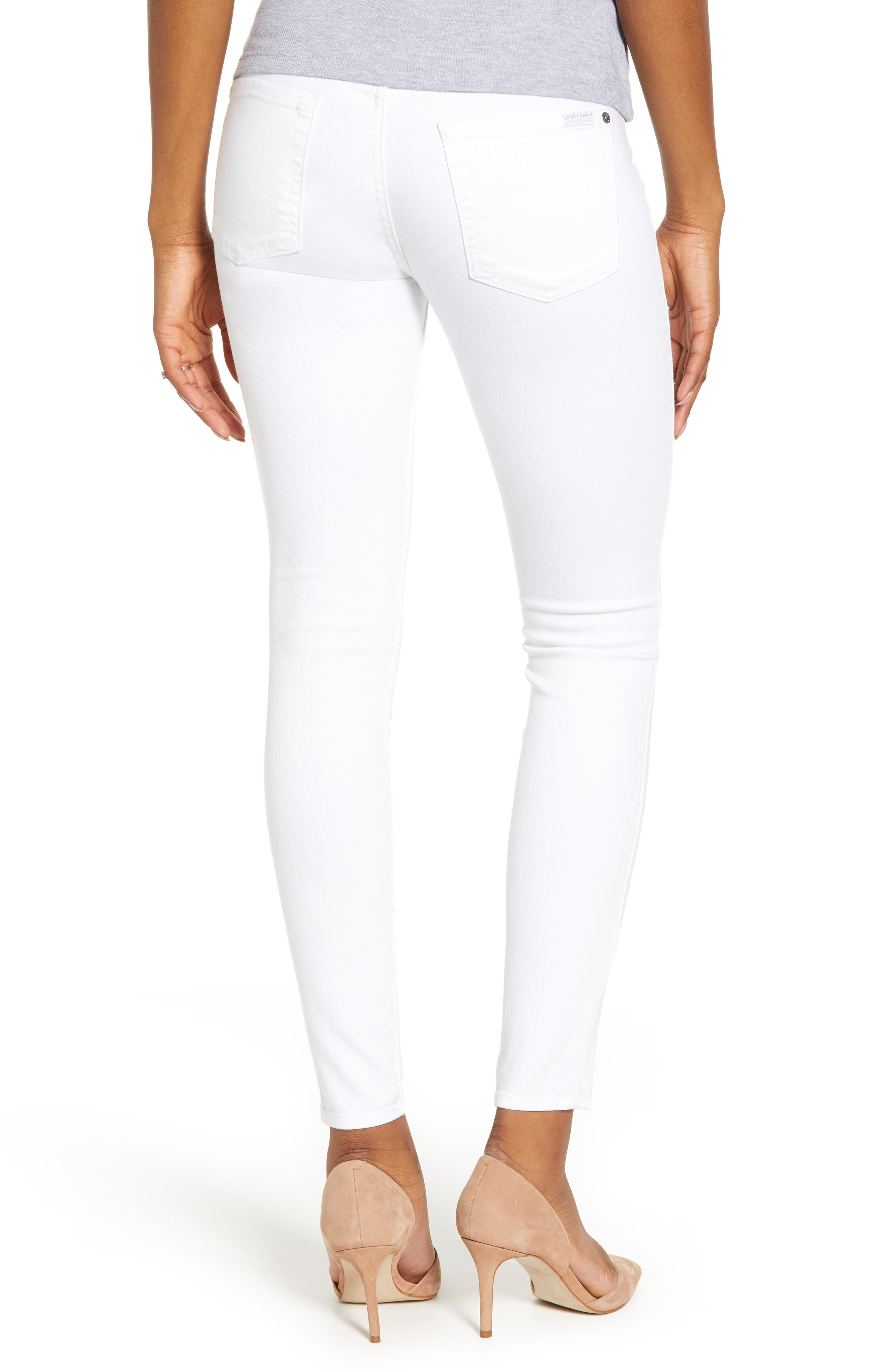 7 FOR ALL MANKIND<SUP>®</SUP>, The Ankle Skinny Maternity Jeans, Alternate thumbnail 2, color, CLEAN WHITE