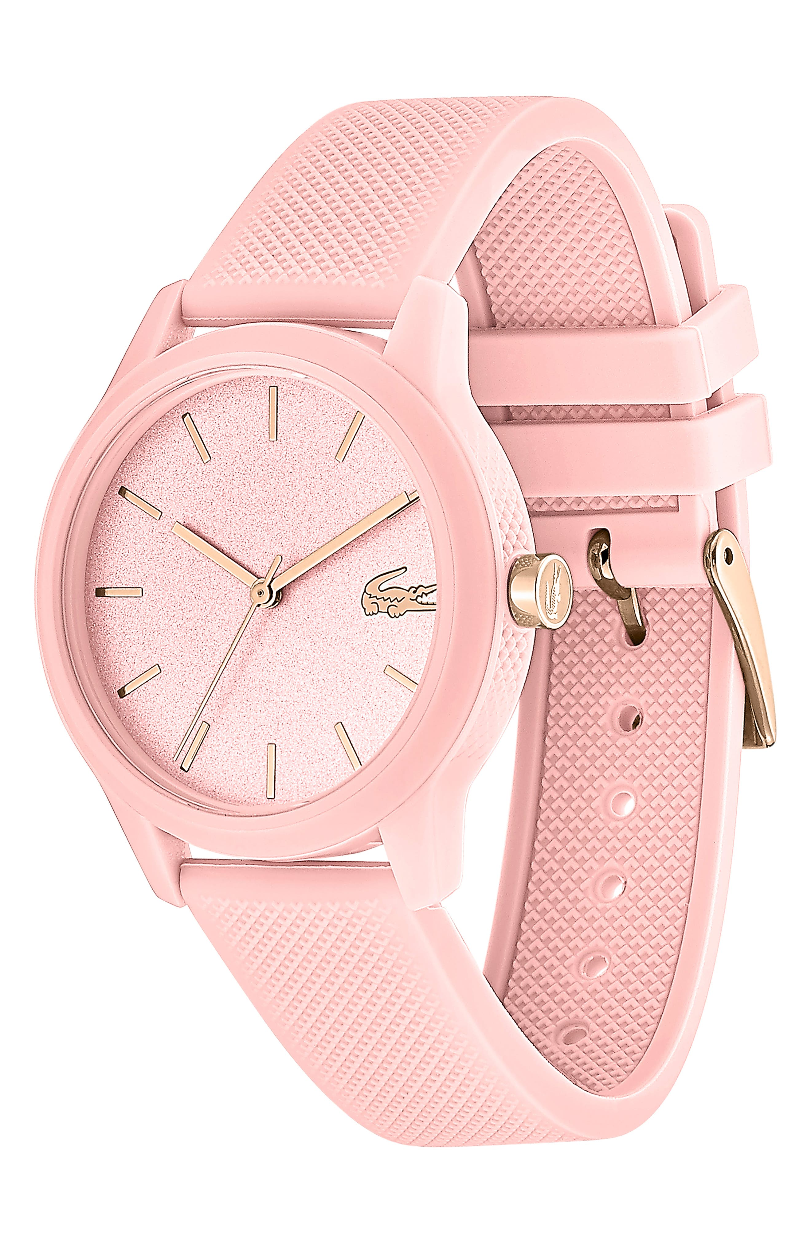 LACOSTE, 12.12 Silicone Strap Watch, 36mm, Alternate thumbnail 3, color, PINK
