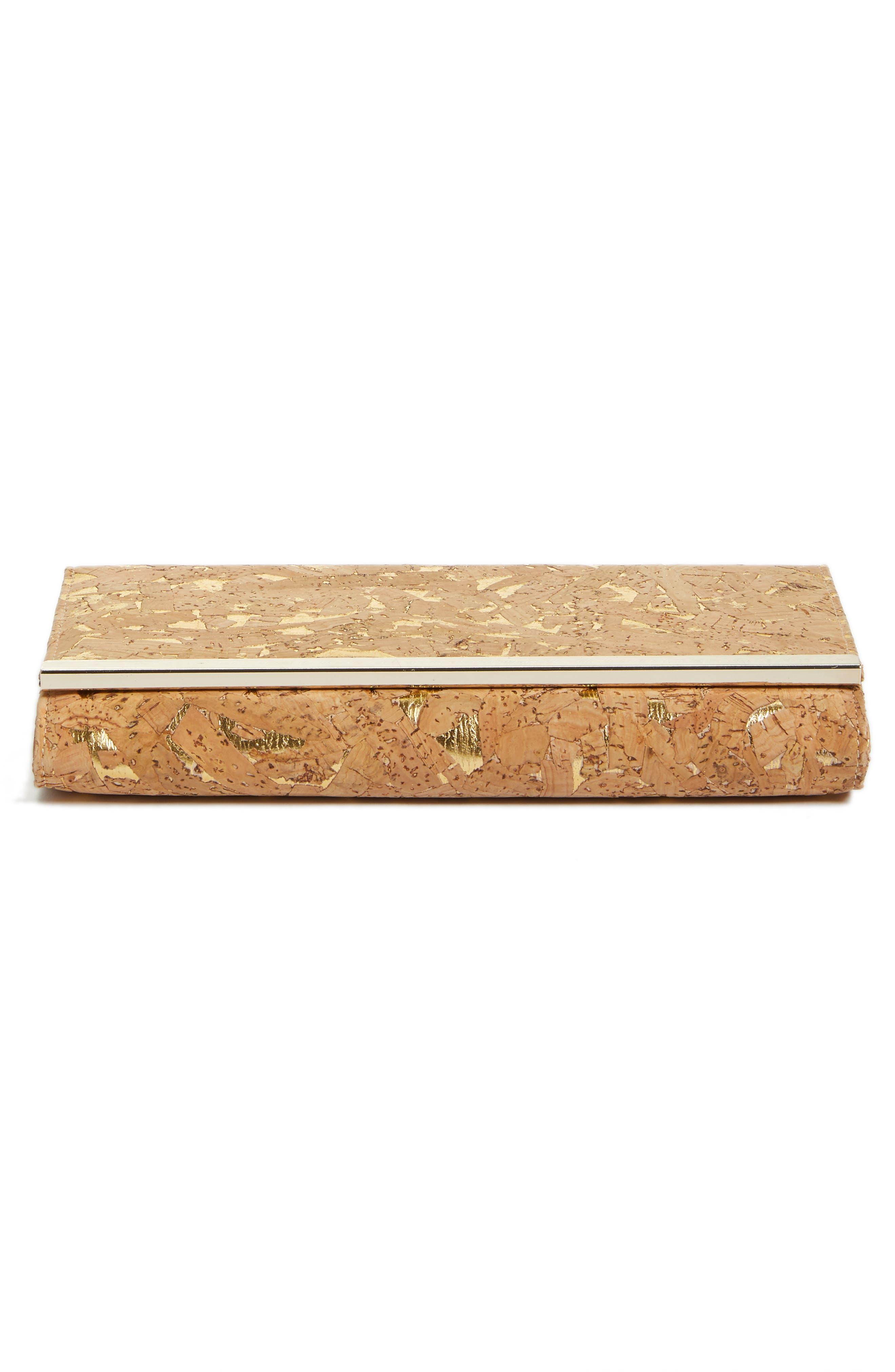 NORDSTROM, Metallic Cork Clutch, Alternate thumbnail 7, color, NATURAL/GOLD