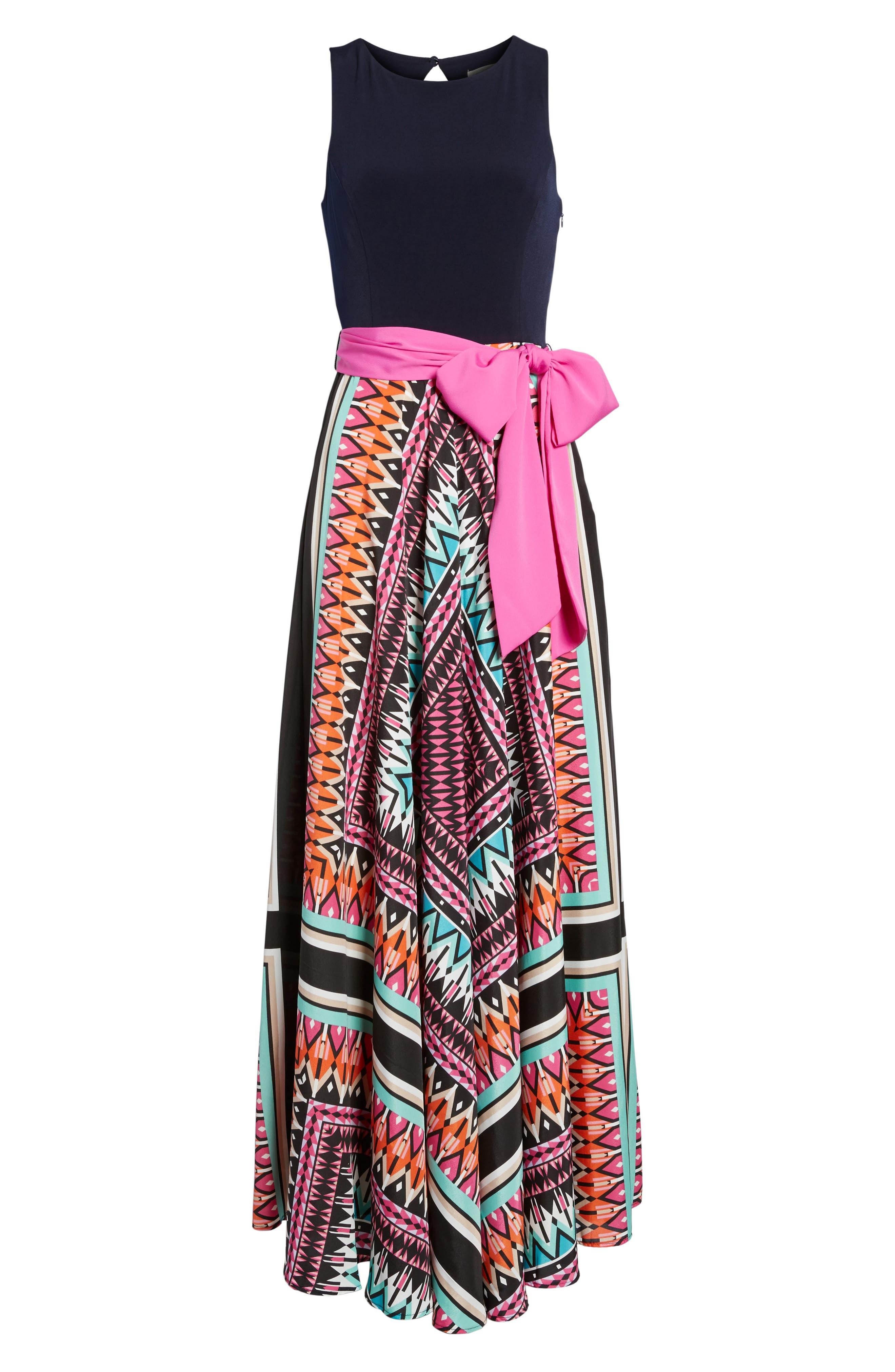 ELIZA J Jersey & Crêpe de Chine Maxi Dress, Main, color, 653