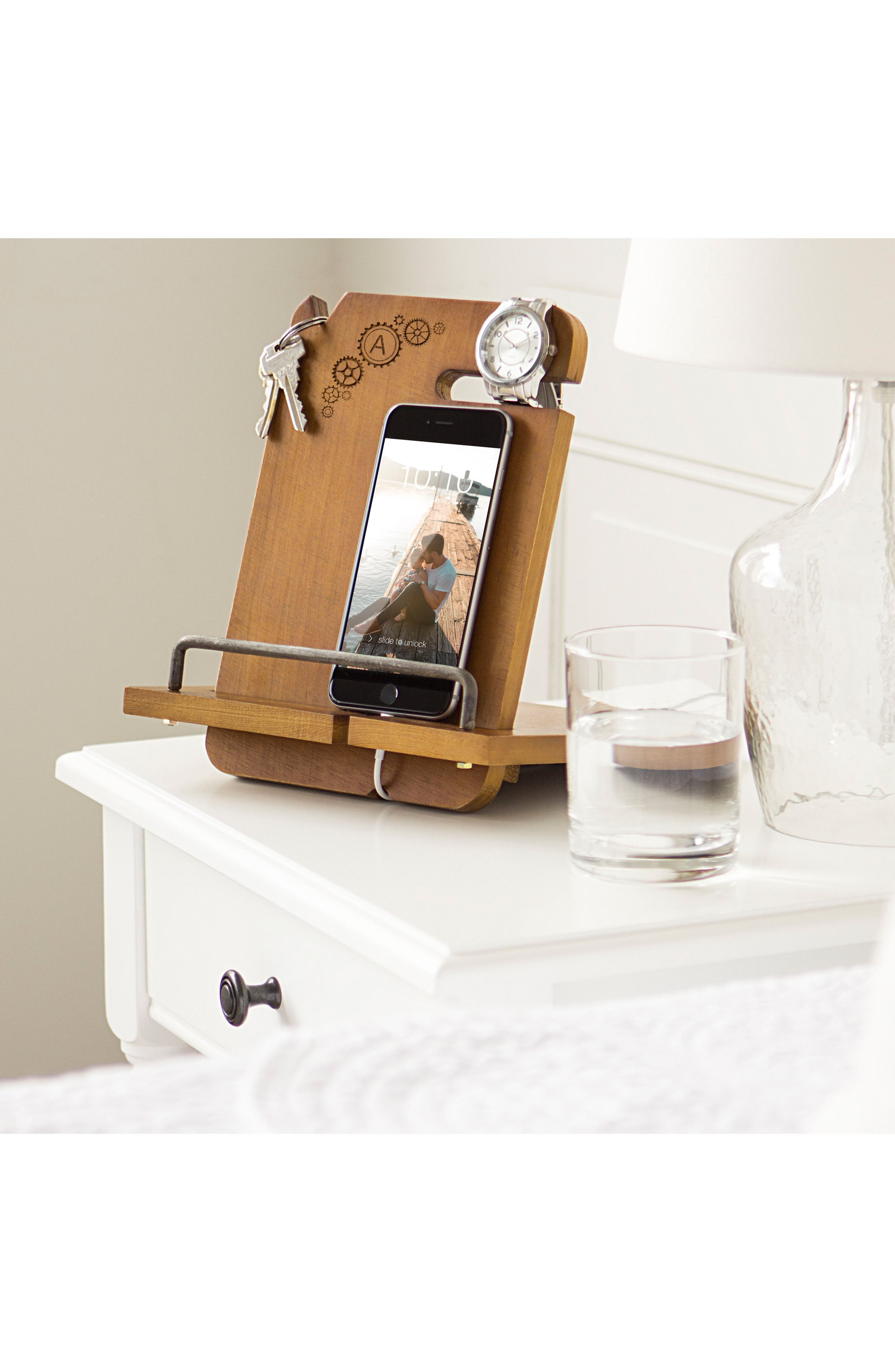 CATHY'S CONCEPTS, Steampunk Monogram Docking Station, Alternate thumbnail 2, color, BROWN - A