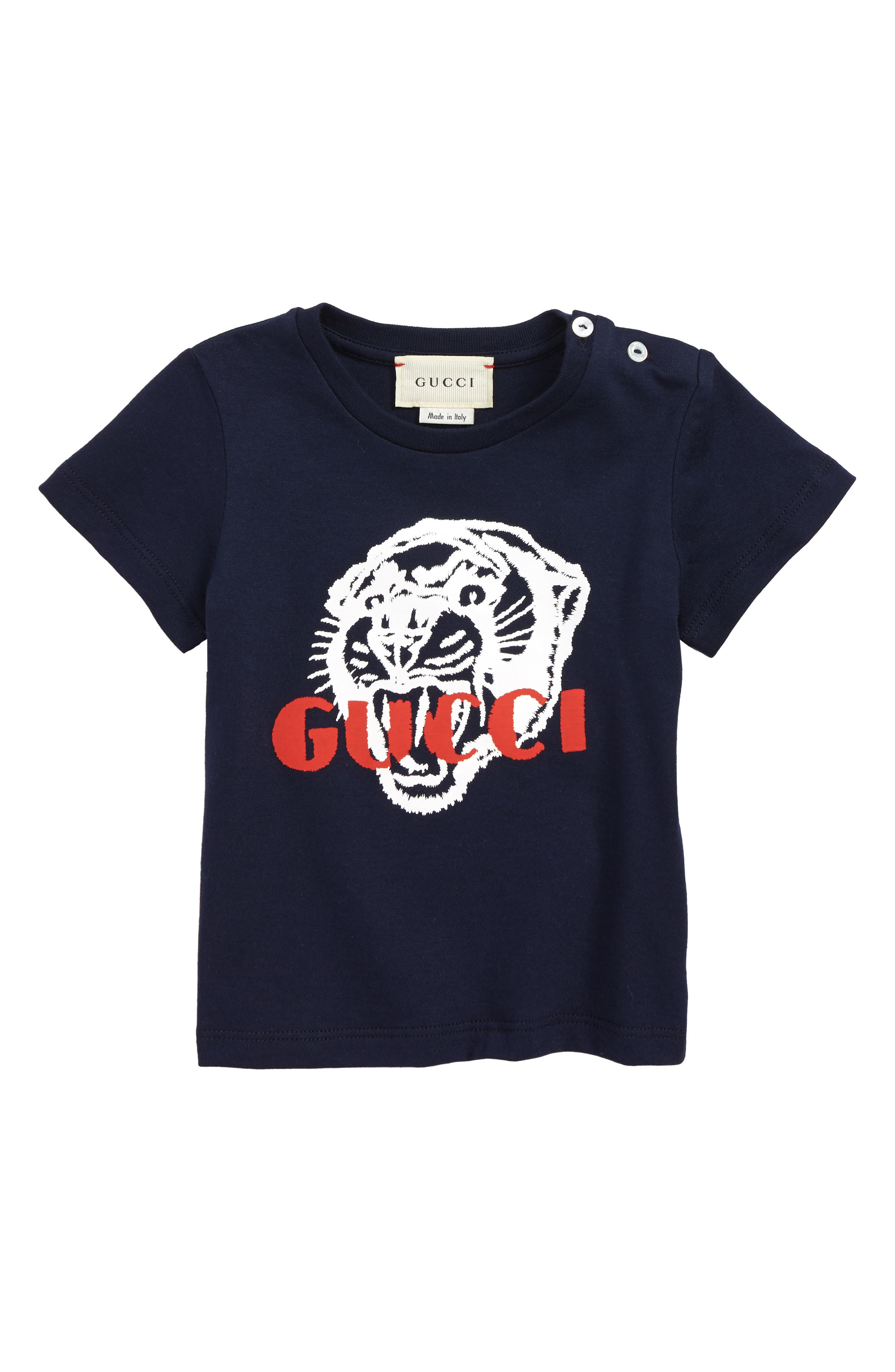 GUCCI Graphic T-Shirt, Main, color, OLTREMARE/ RED