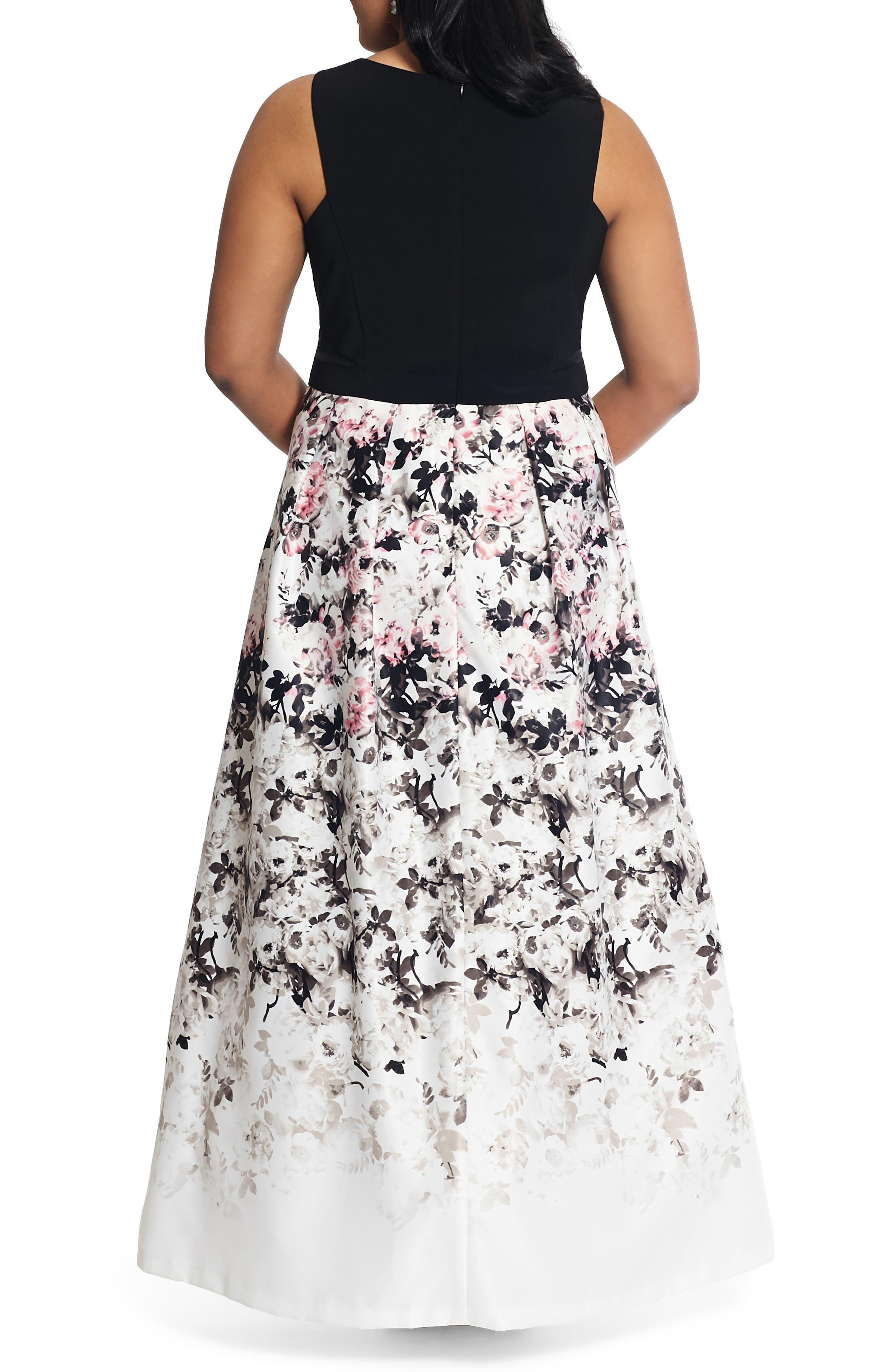 XSCAPE, Floral Print Evening Gown, Alternate thumbnail 2, color, BLACK/ PINK