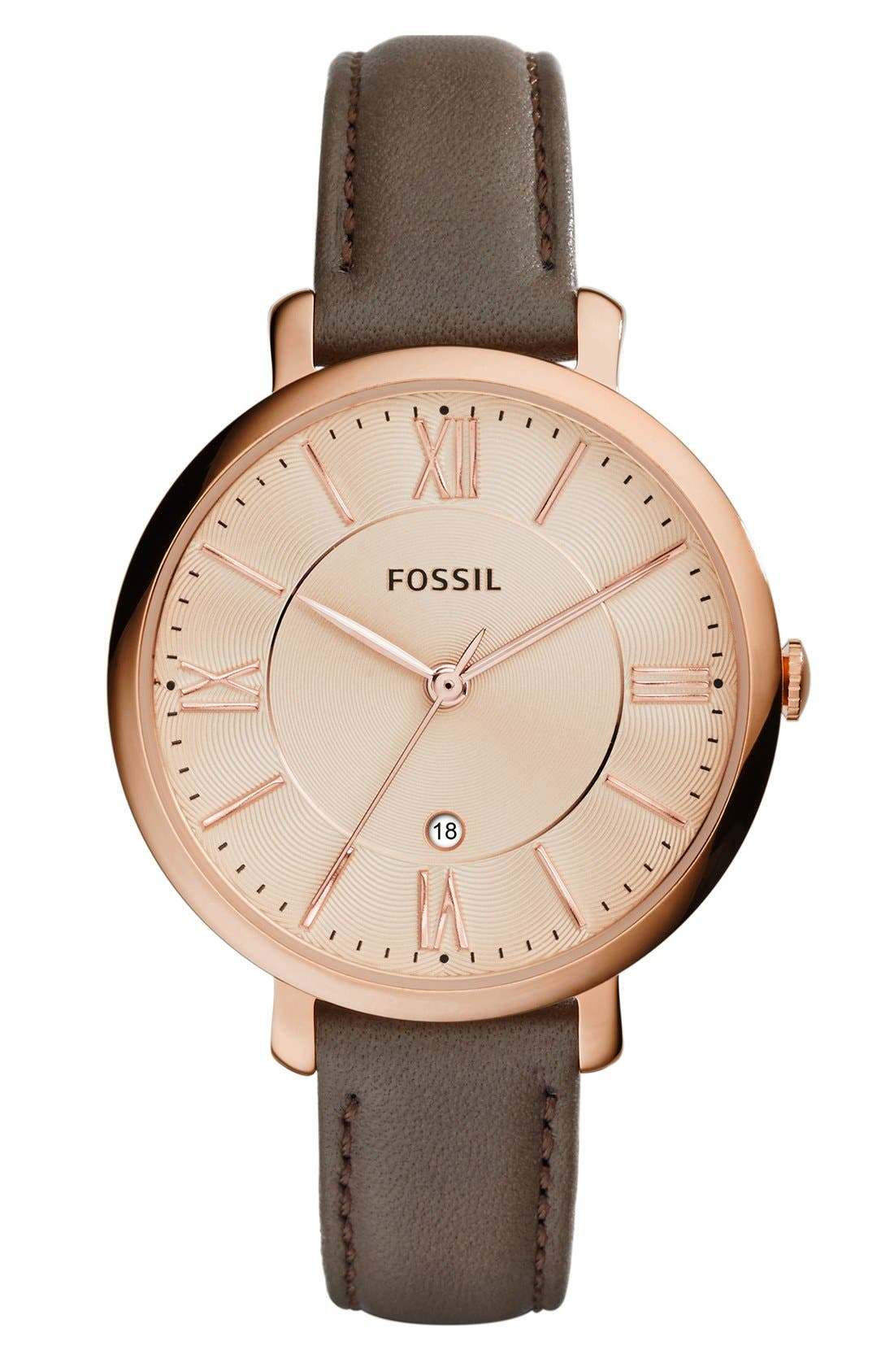 FOSSIL, 'Jacqueline' Round Leather Strap Watch, 36mm, Main thumbnail 1, color, IRON/ ROSE GOLD