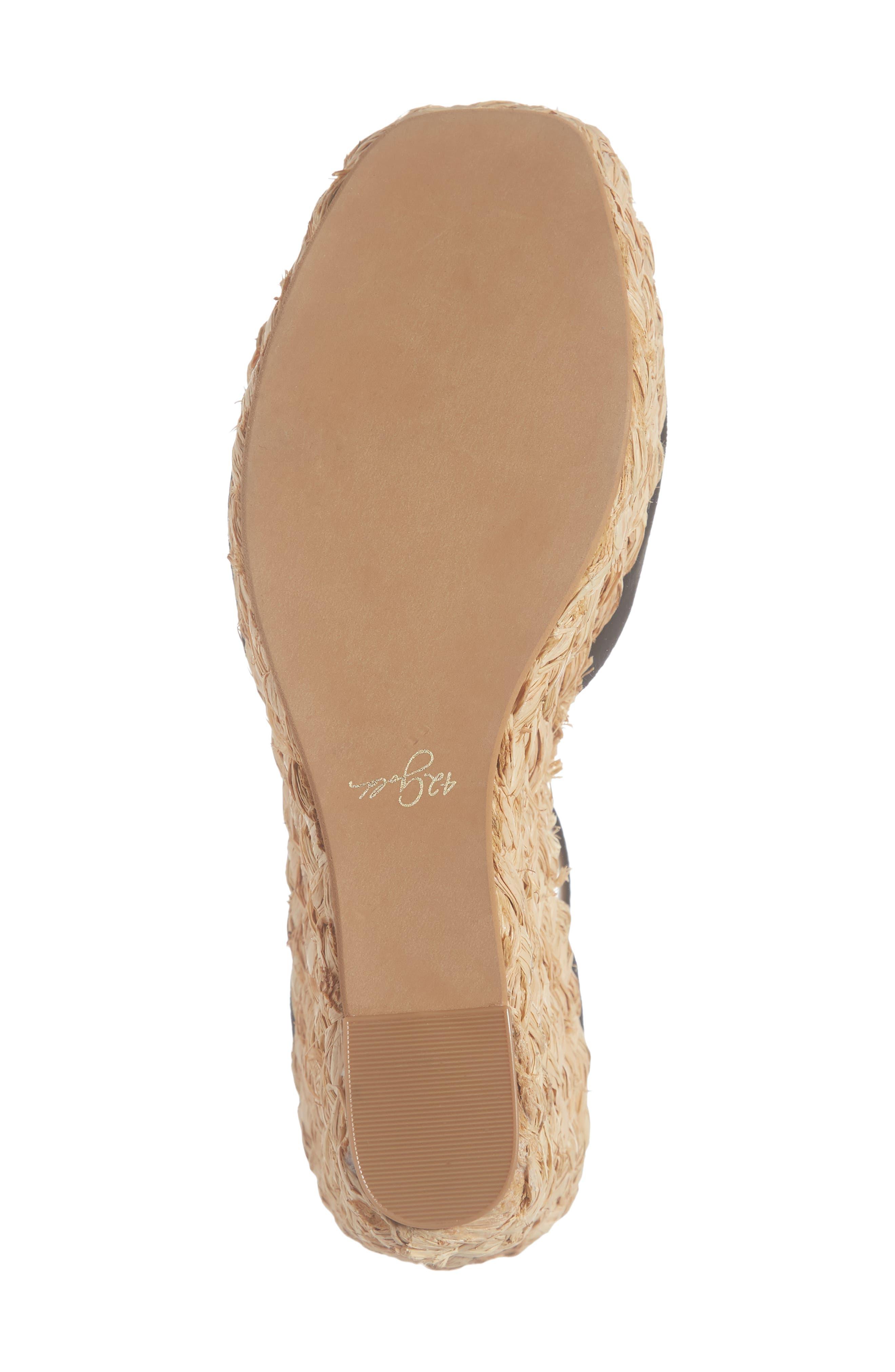42 GOLD, Mindie Platform Wedge Sandal, Alternate thumbnail 6, color, BLACK SUEDE