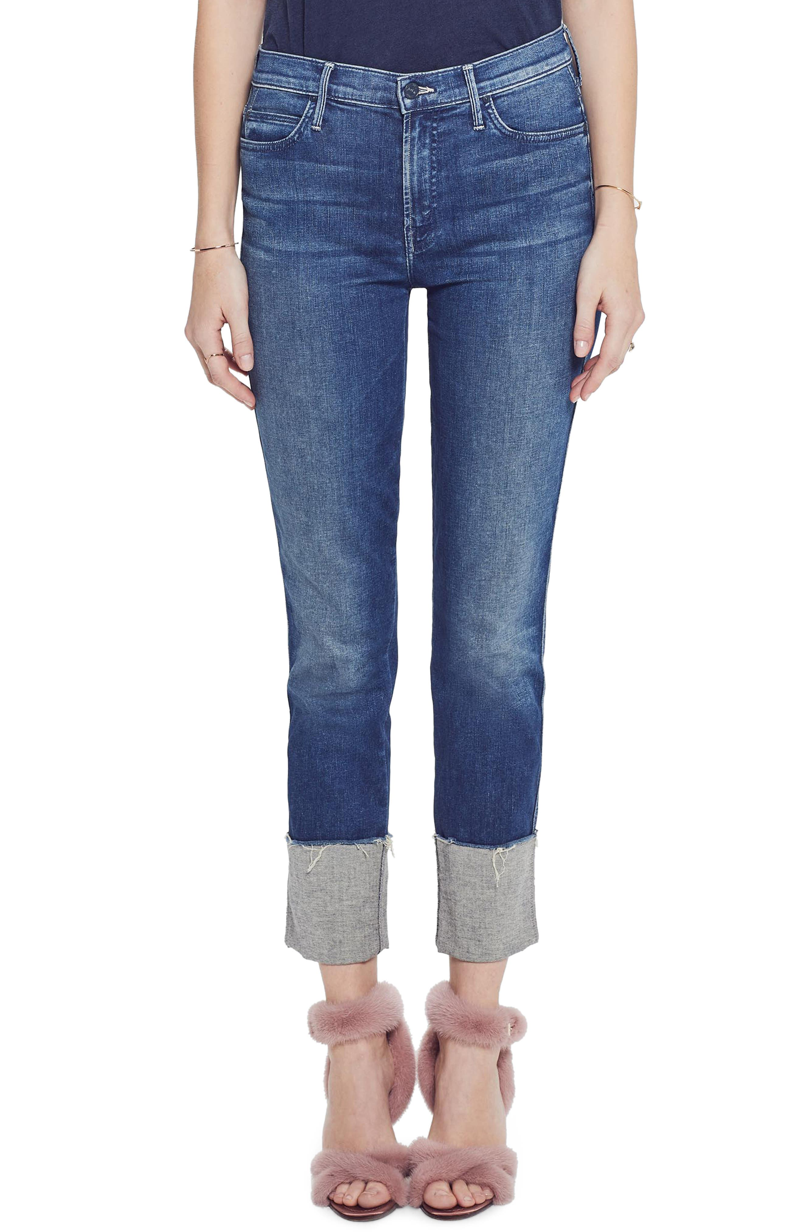MOTHER, The Pony Boy Frayed Ankle Tapered Jeans, Main thumbnail 1, color, LURE ME IN