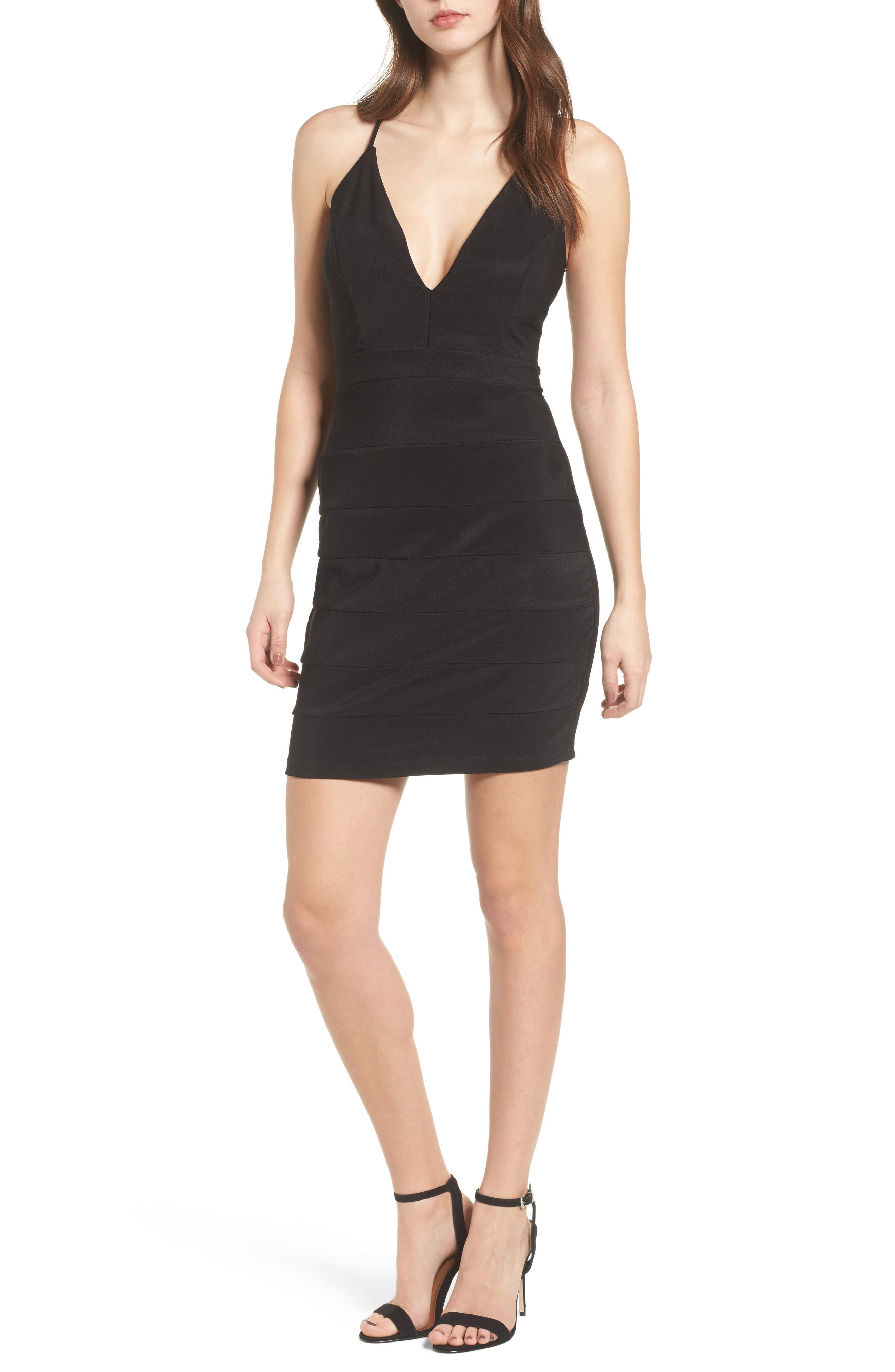 LOVE, NICKIE LEW, Lace Back Body-Con Dress, Main thumbnail 1, color, 001