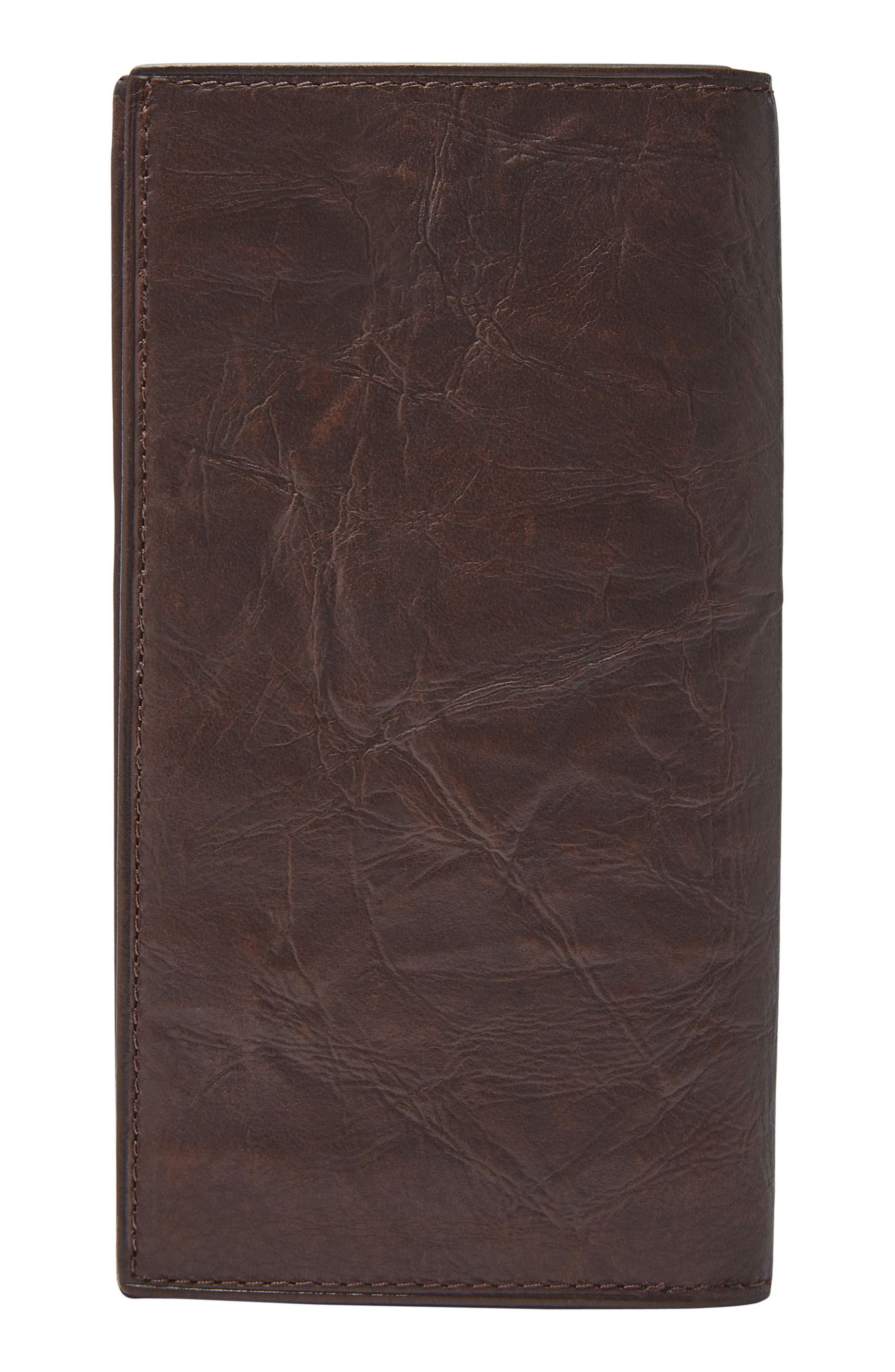 FOSSIL, Neel Leather Executive Wallet, Alternate thumbnail 3, color, BROWN
