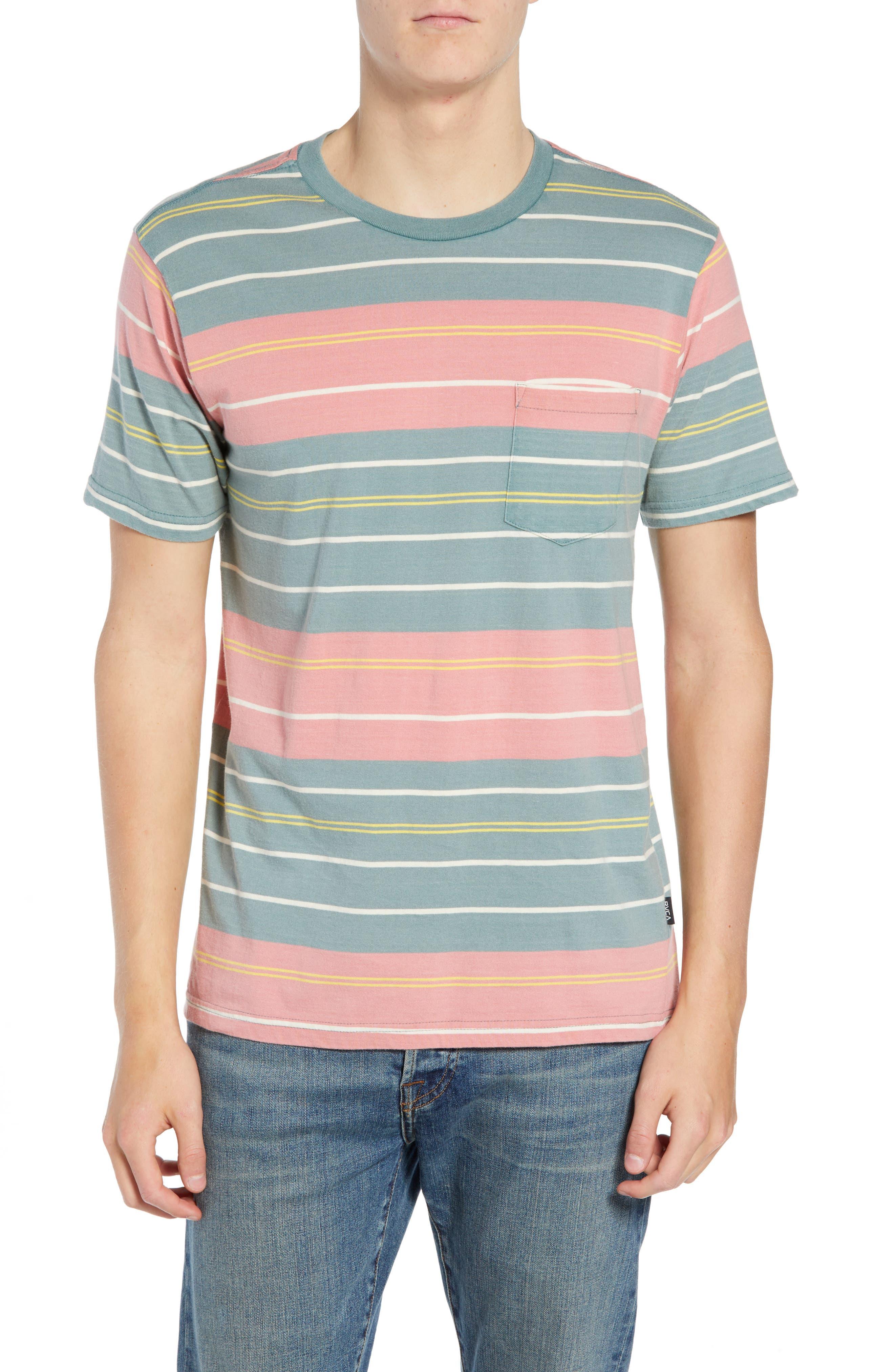 RVCA Rusholme Stripe T-Shirt, Main, color, PINE TREE