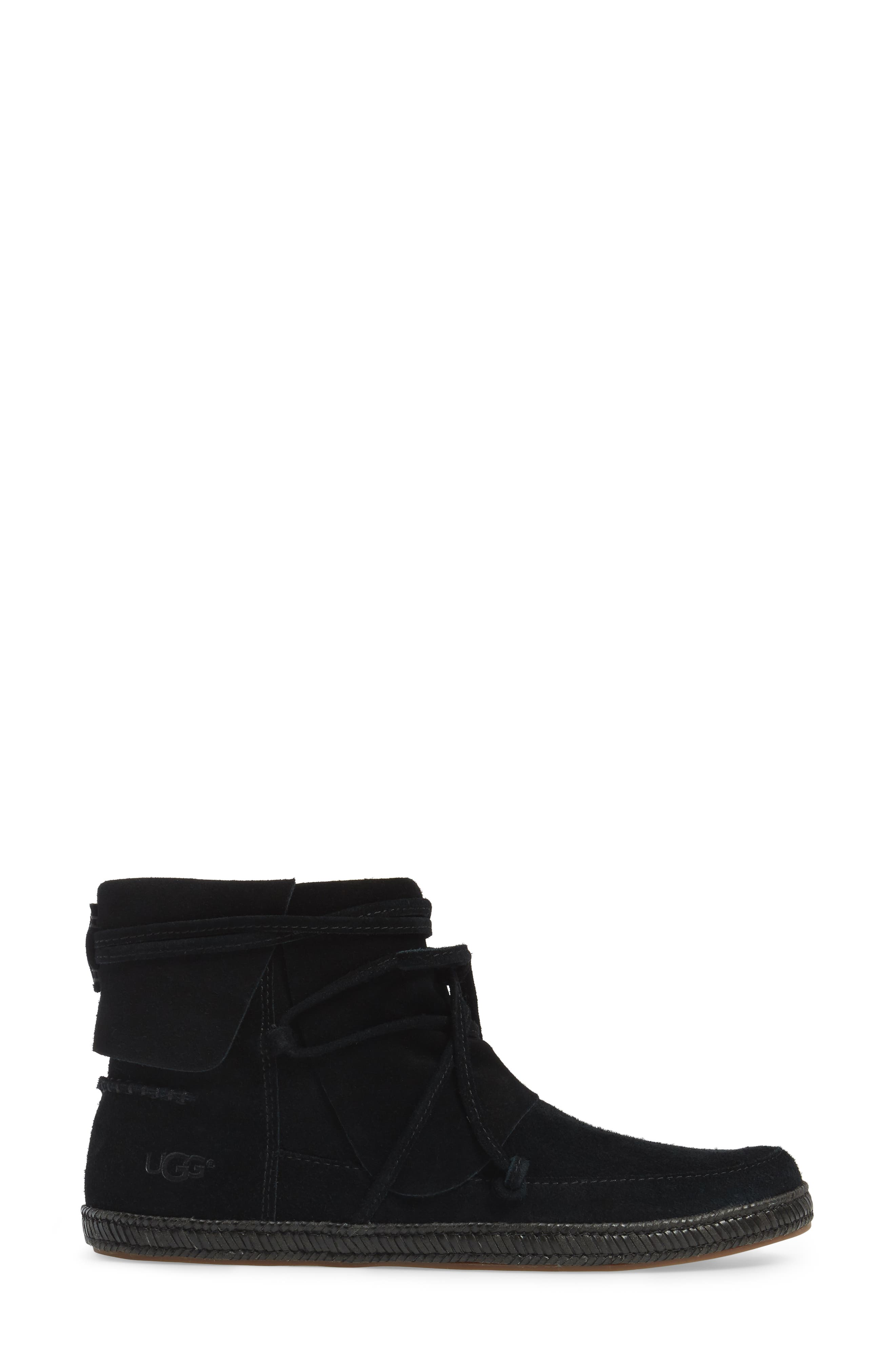 UGG<SUP>®</SUP>, Reid Boot, Alternate thumbnail 3, color, BLACK SUEDE