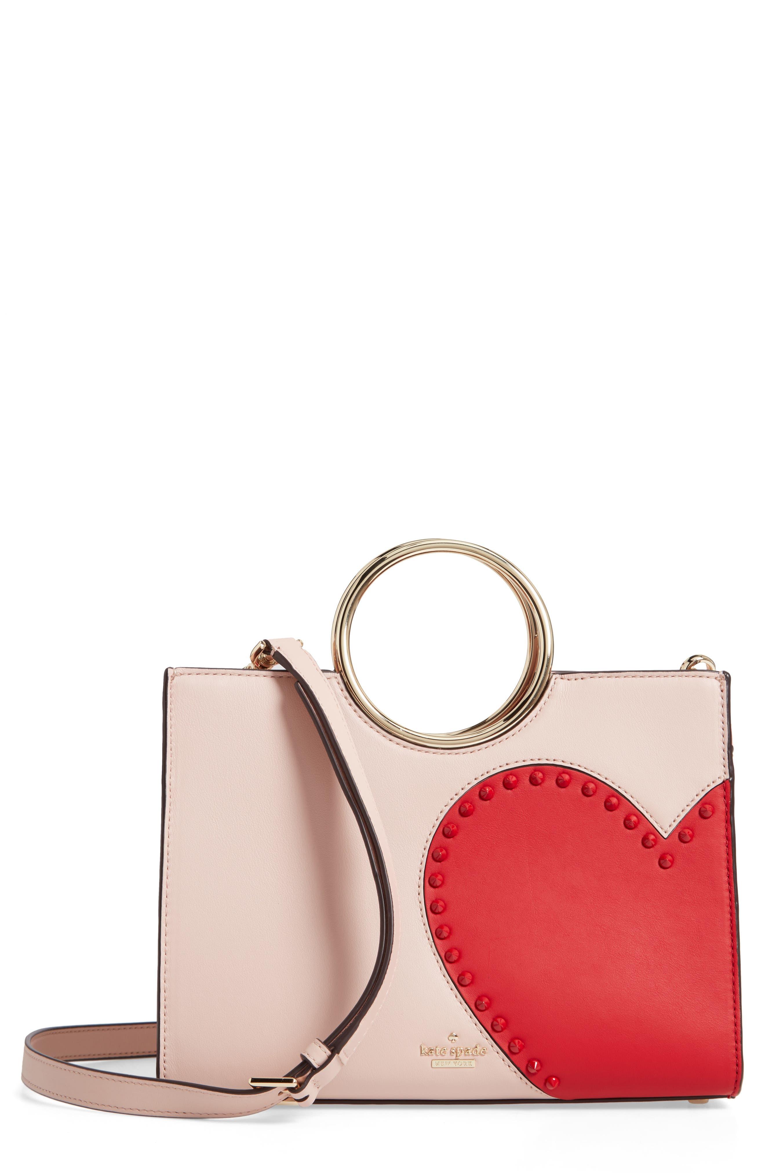 KATE SPADE NEW YORK heart it - sam leather satchel, Main, color, 650