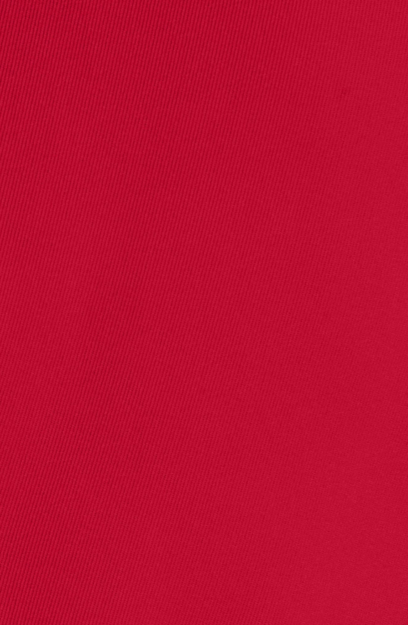 MONCLER, Bauges Water Repellent Hooded Down Coat with Detachable Genuine Fox Fur Trim, Alternate thumbnail 6, color, RED