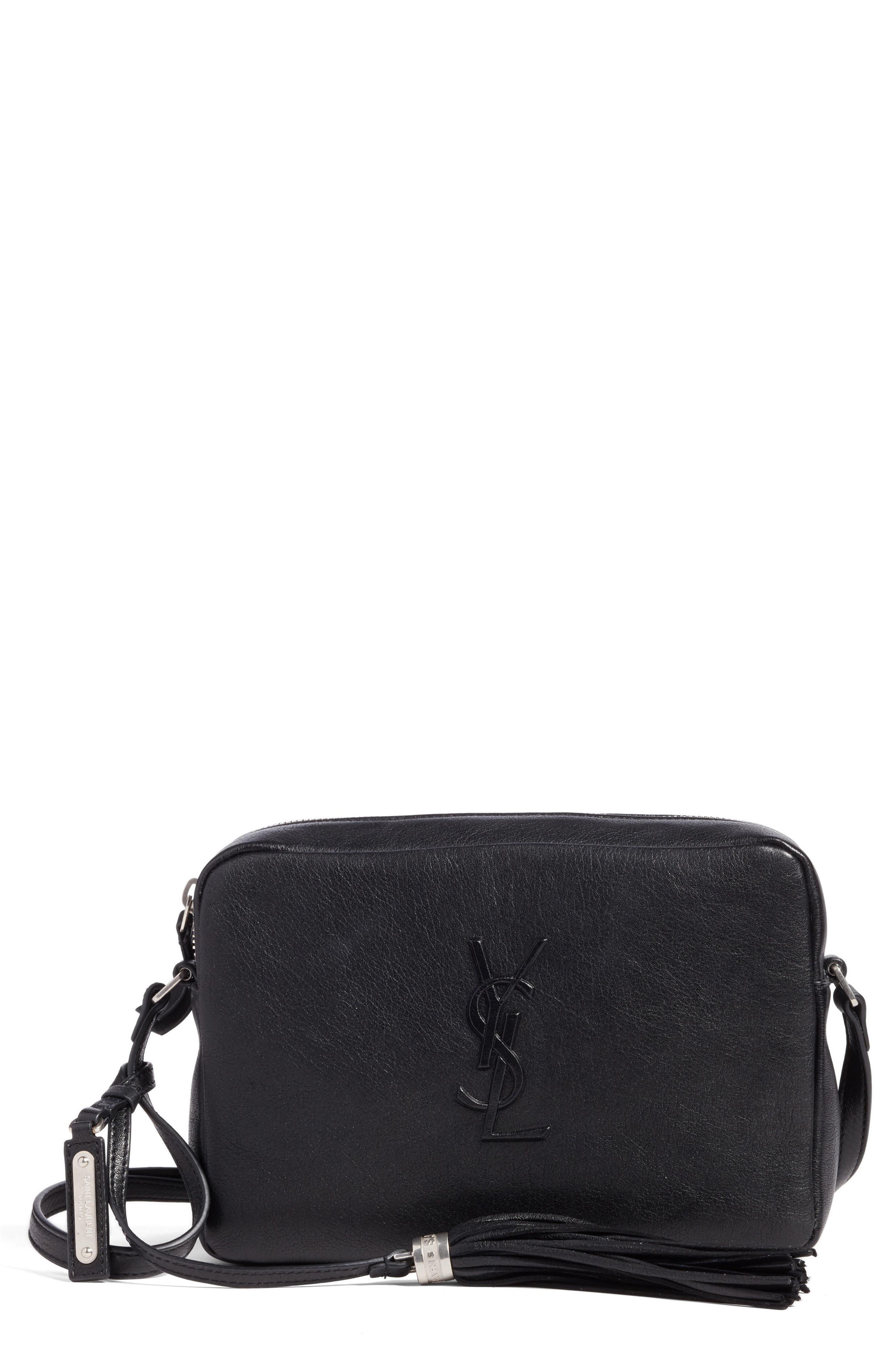 SAINT LAURENT, Small Mono Leather Camera Bag, Main thumbnail 1, color, NOIR
