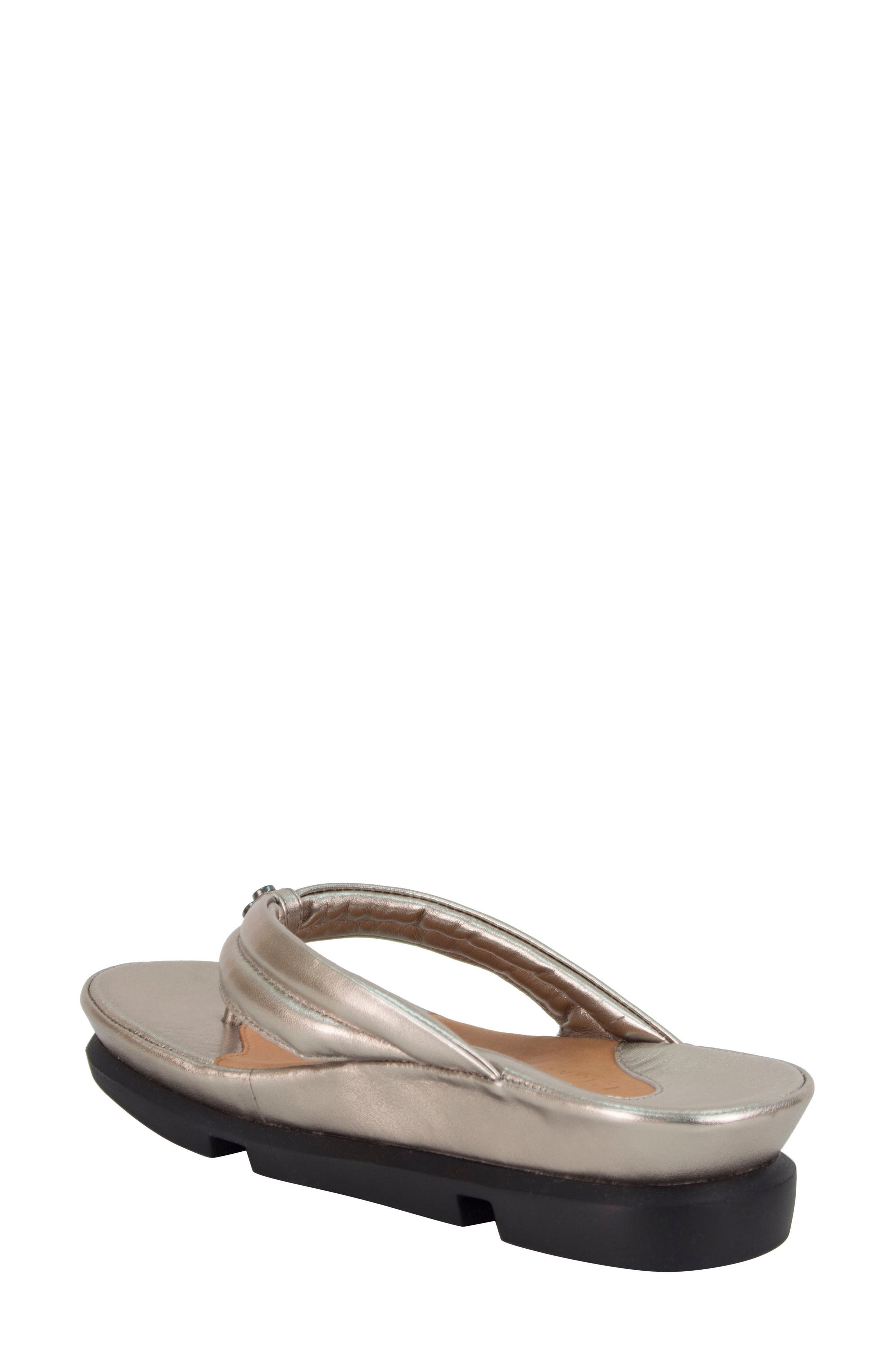 L'AMOUR DES PIEDS, Villapapavero Flip Flop, Alternate thumbnail 2, color, PEWTER LEATHER