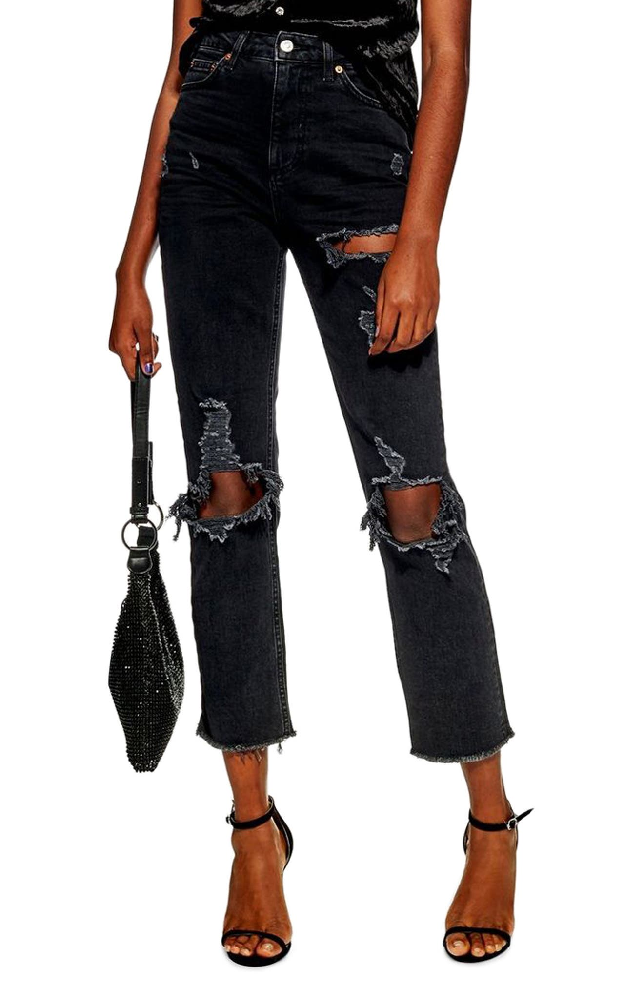 TOPSHOP, Ripped Straight Jeans, Main thumbnail 1, color, WASHED BLACK