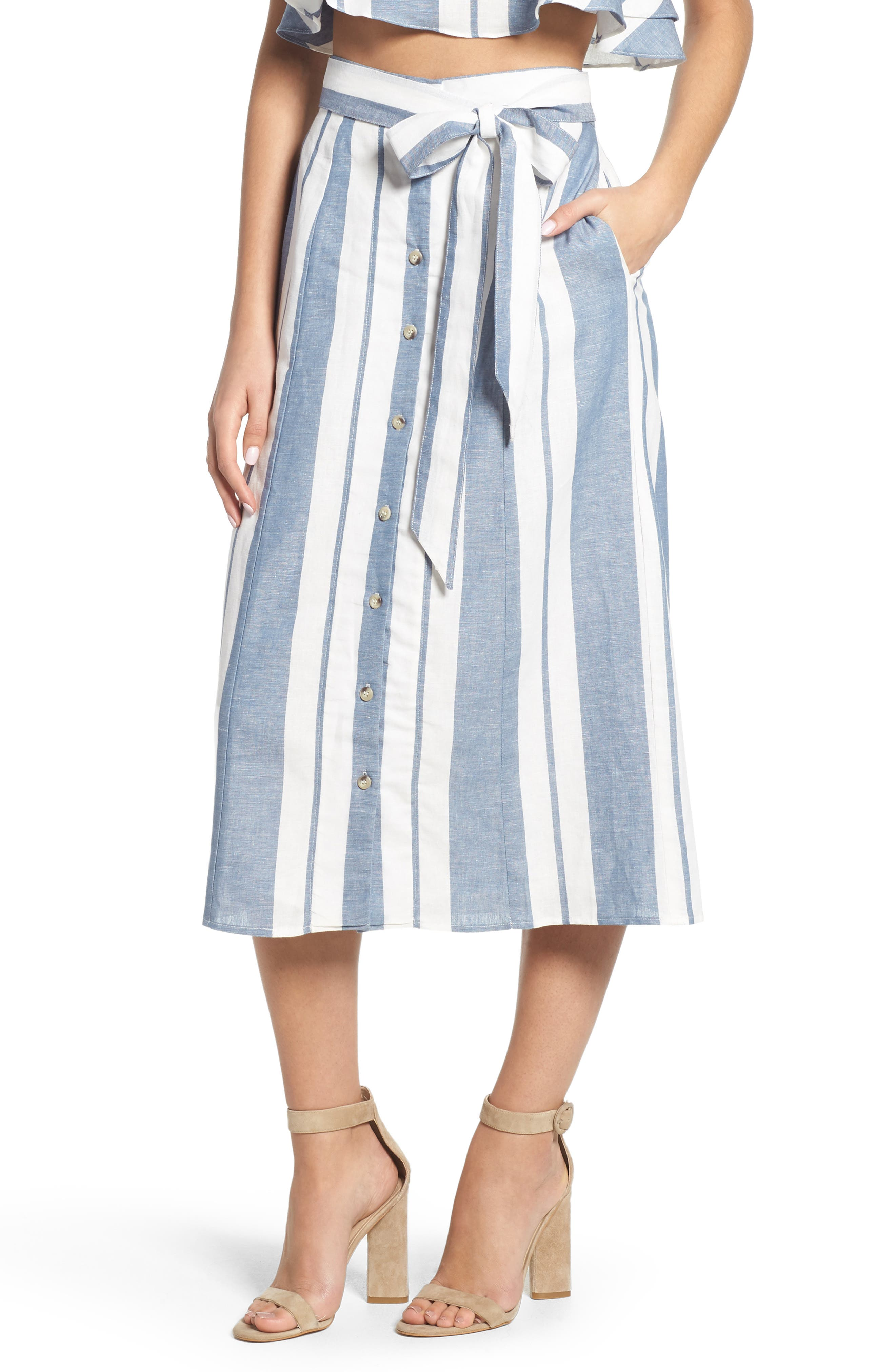 WAYF, Stripe Midi Skirt, Main thumbnail 1, color, 400