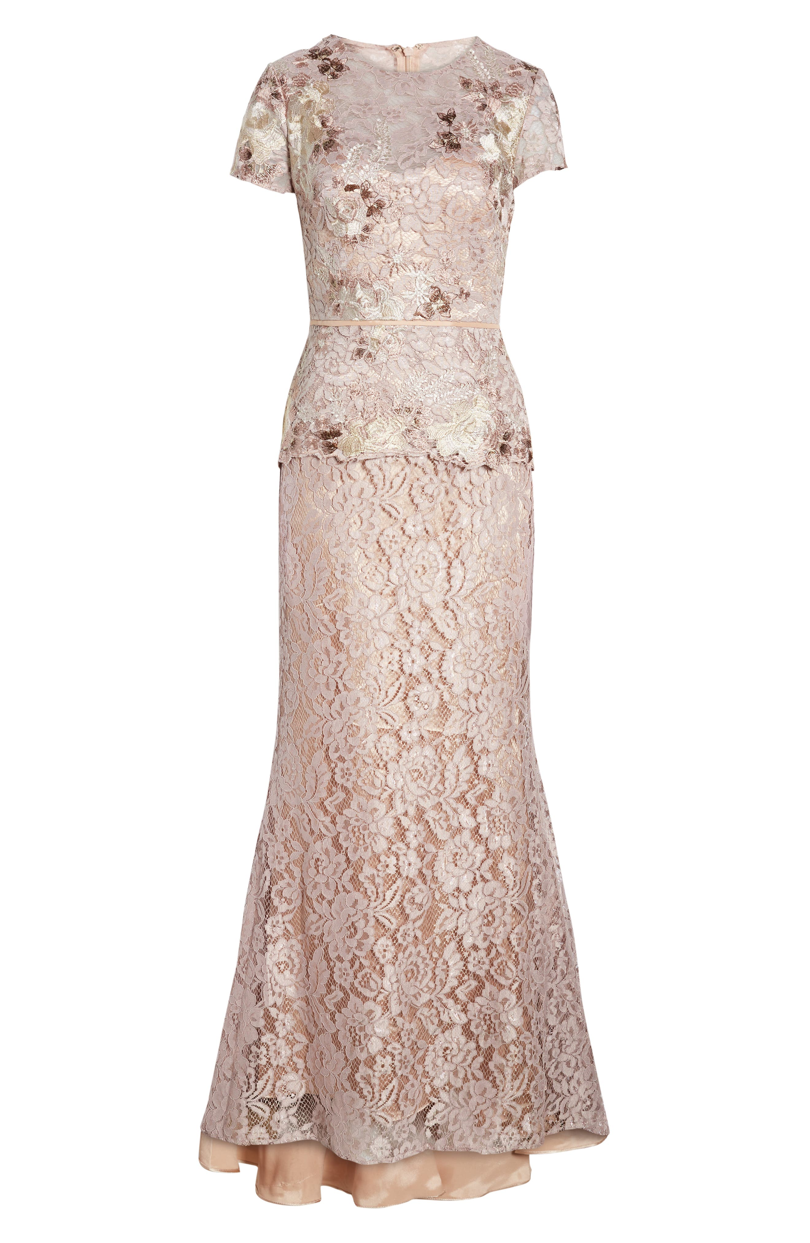 JS COLLECTIONS, Lace Gown, Alternate thumbnail 3, color, LAVENDER/ BLUSH