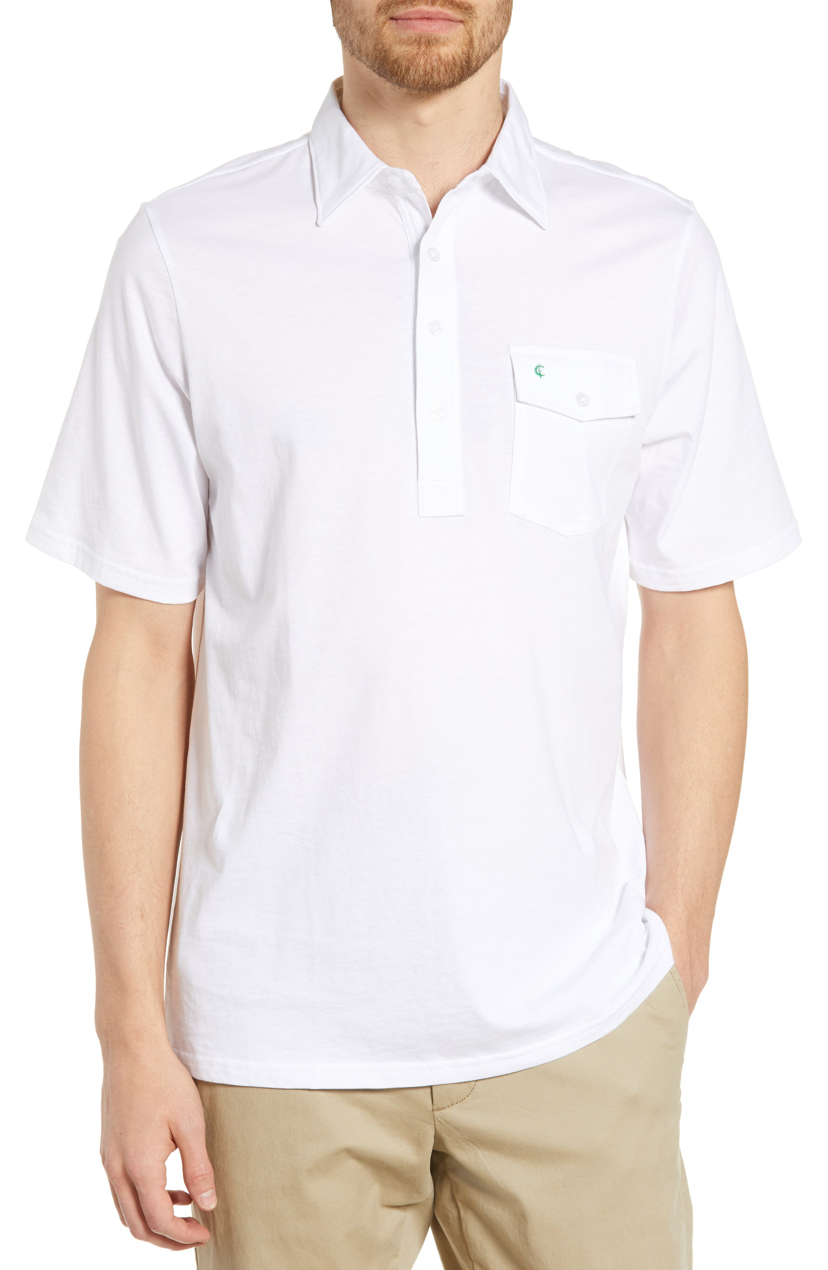 CRIQUET Regular Fit Players Jersey Polo, Main, color, WHITE