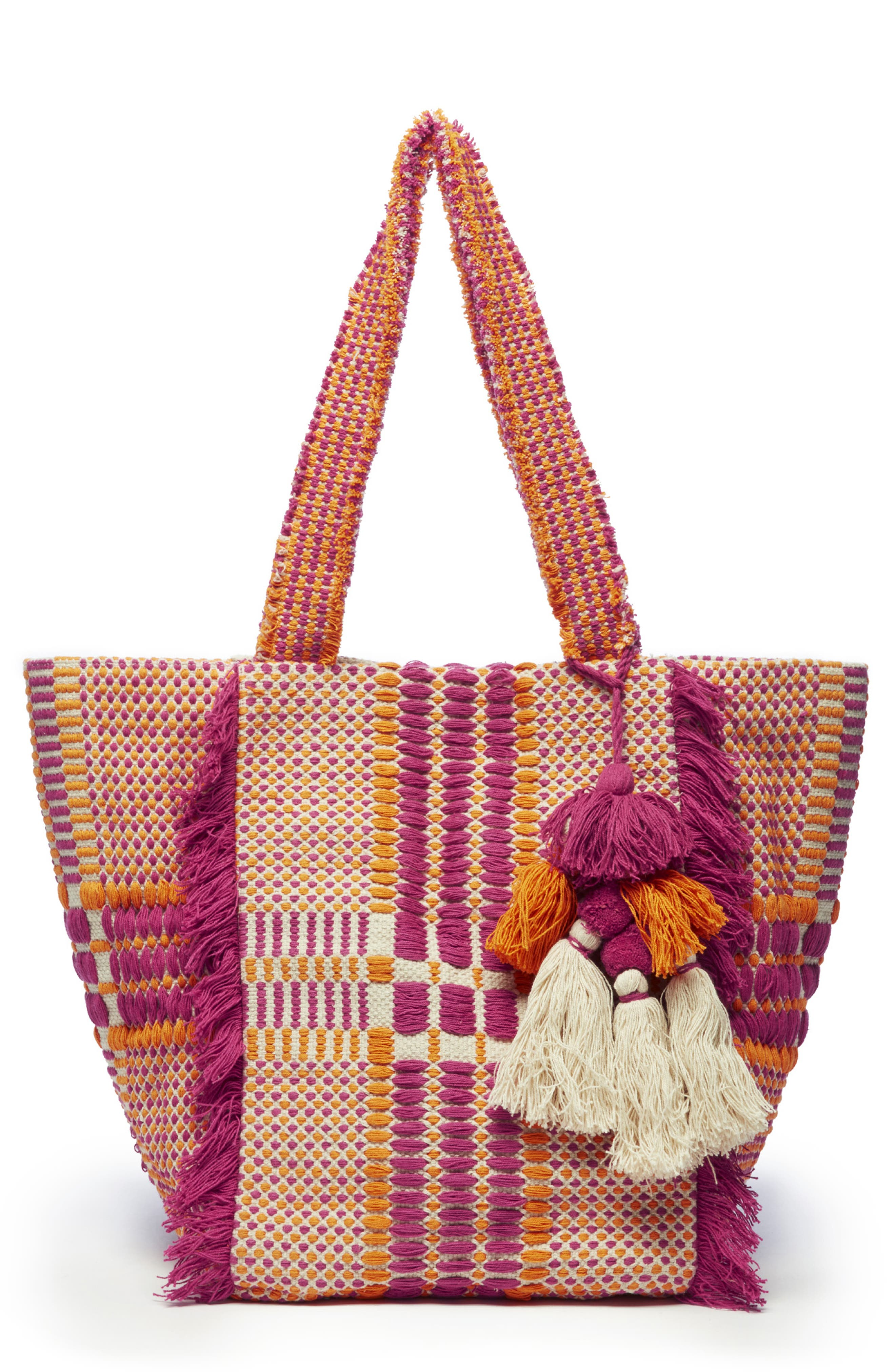 SOLE SOCIETY, Jalia Cotton Tote, Main thumbnail 1, color, PINK MULTI