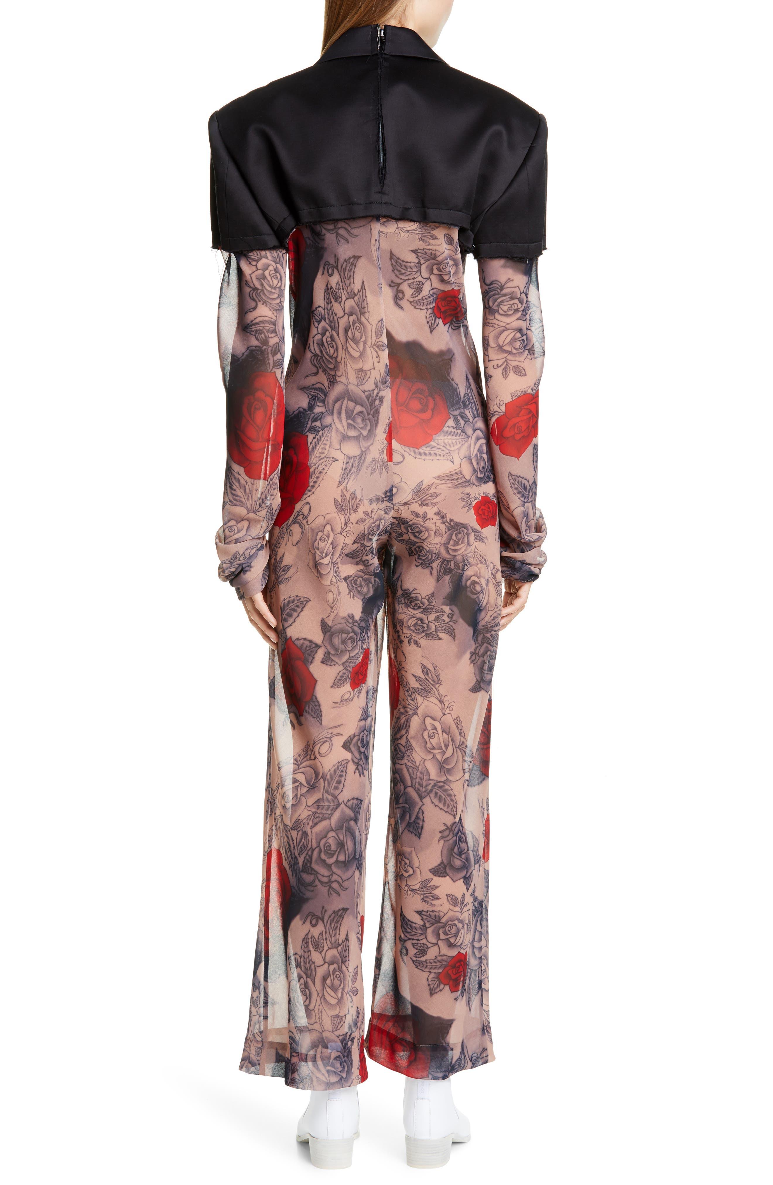 COMME DES GARÇONS, Cotton Blazer & Rose Tattoo Mesh Jumpsuit, Alternate thumbnail 2, color, BLACK X F PATTERN