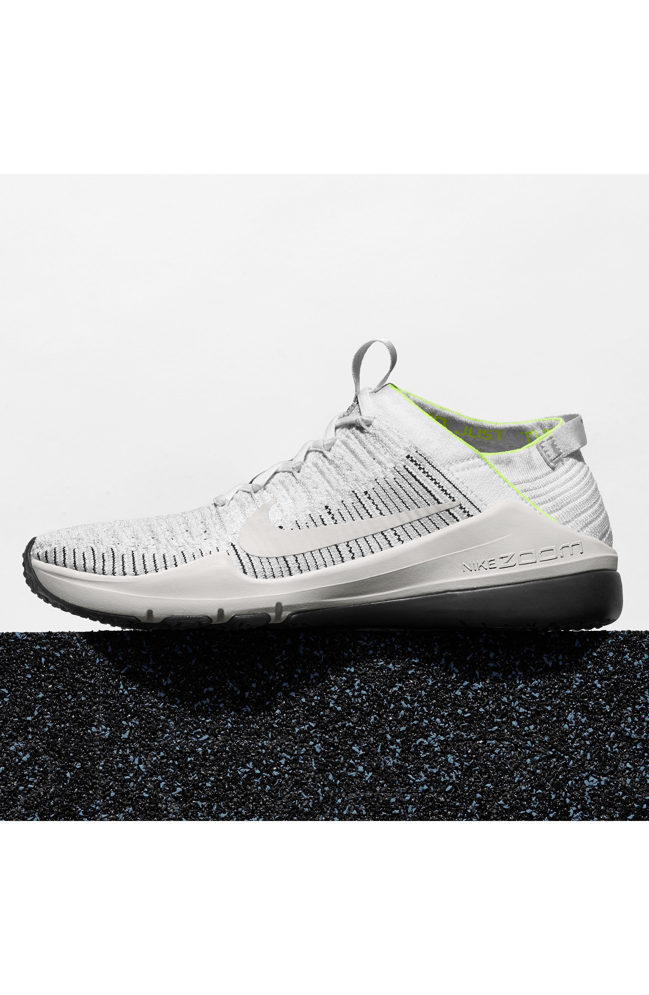 NIKE, Air Zoom Fearless Flyknit 2 Training Sneaker, Alternate thumbnail 7, color, WHITE/ PLATINUM TINT/ BLACK