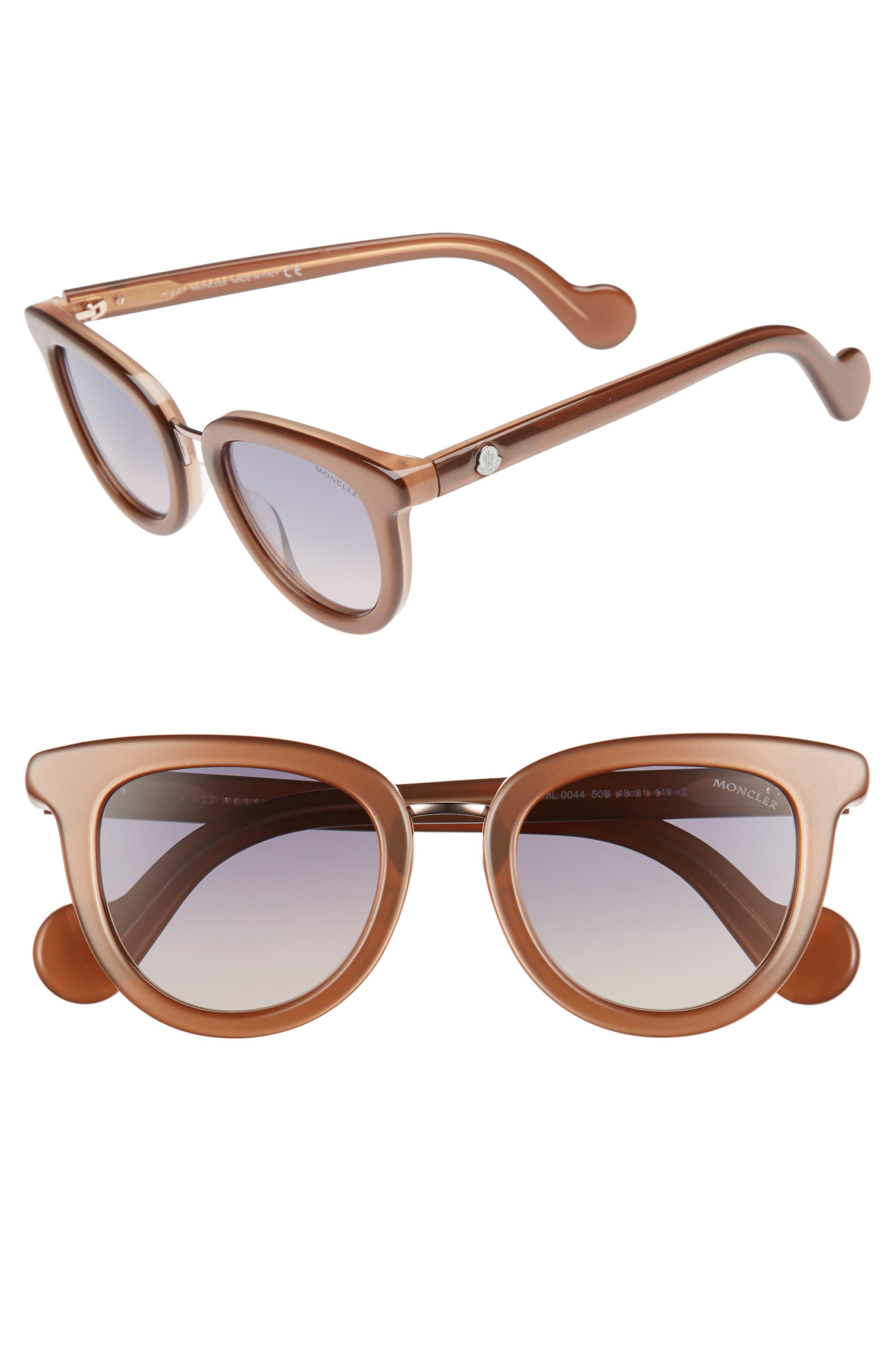 MONCLER, 48mm Cat Eye Sunglasses, Main thumbnail 1, color, PEARL BROWN/ GREY/ SAND
