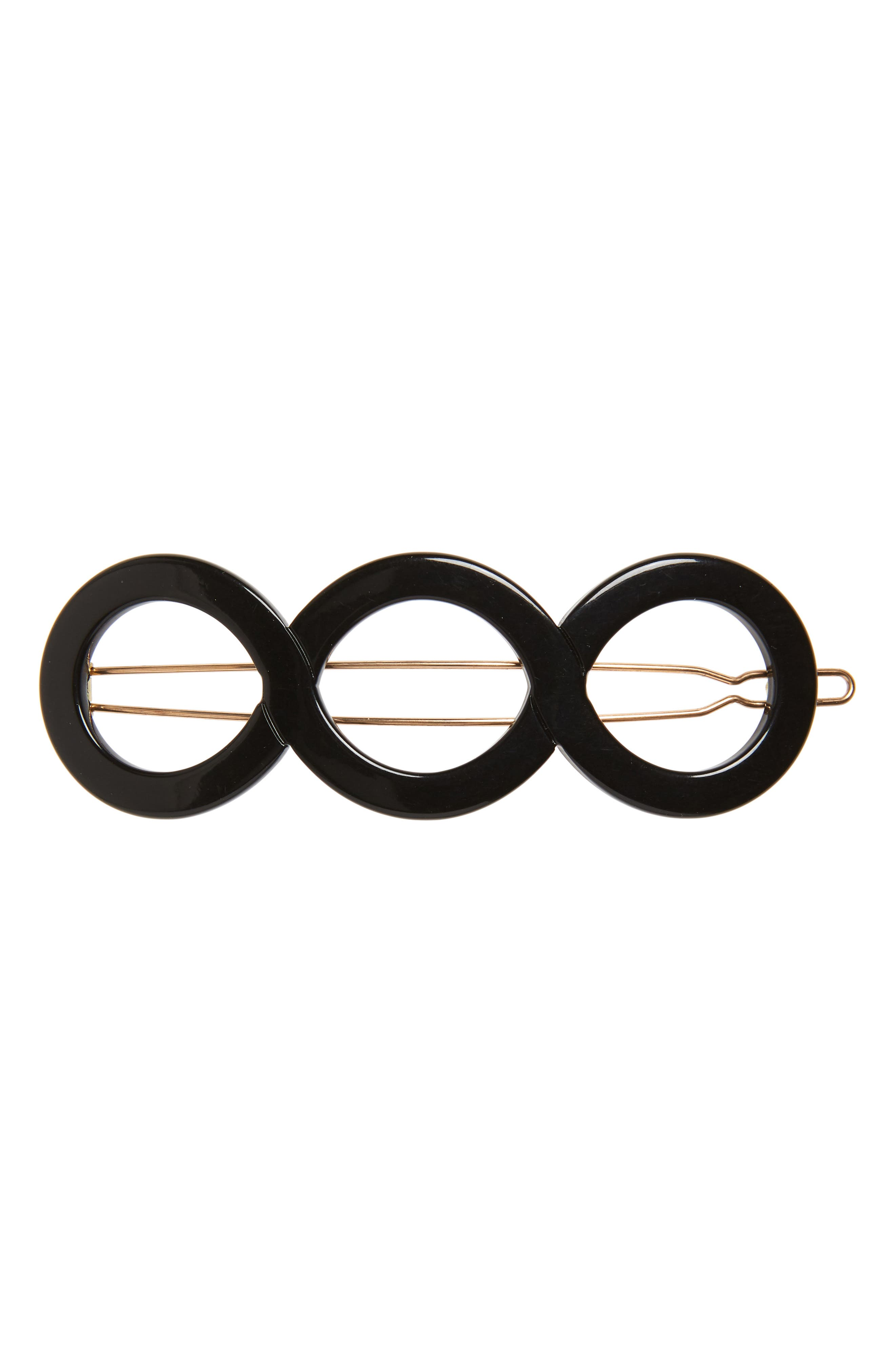 FRANCE LUXE Triple Circle Tige Boule Barrette, Main, color, BLACK
