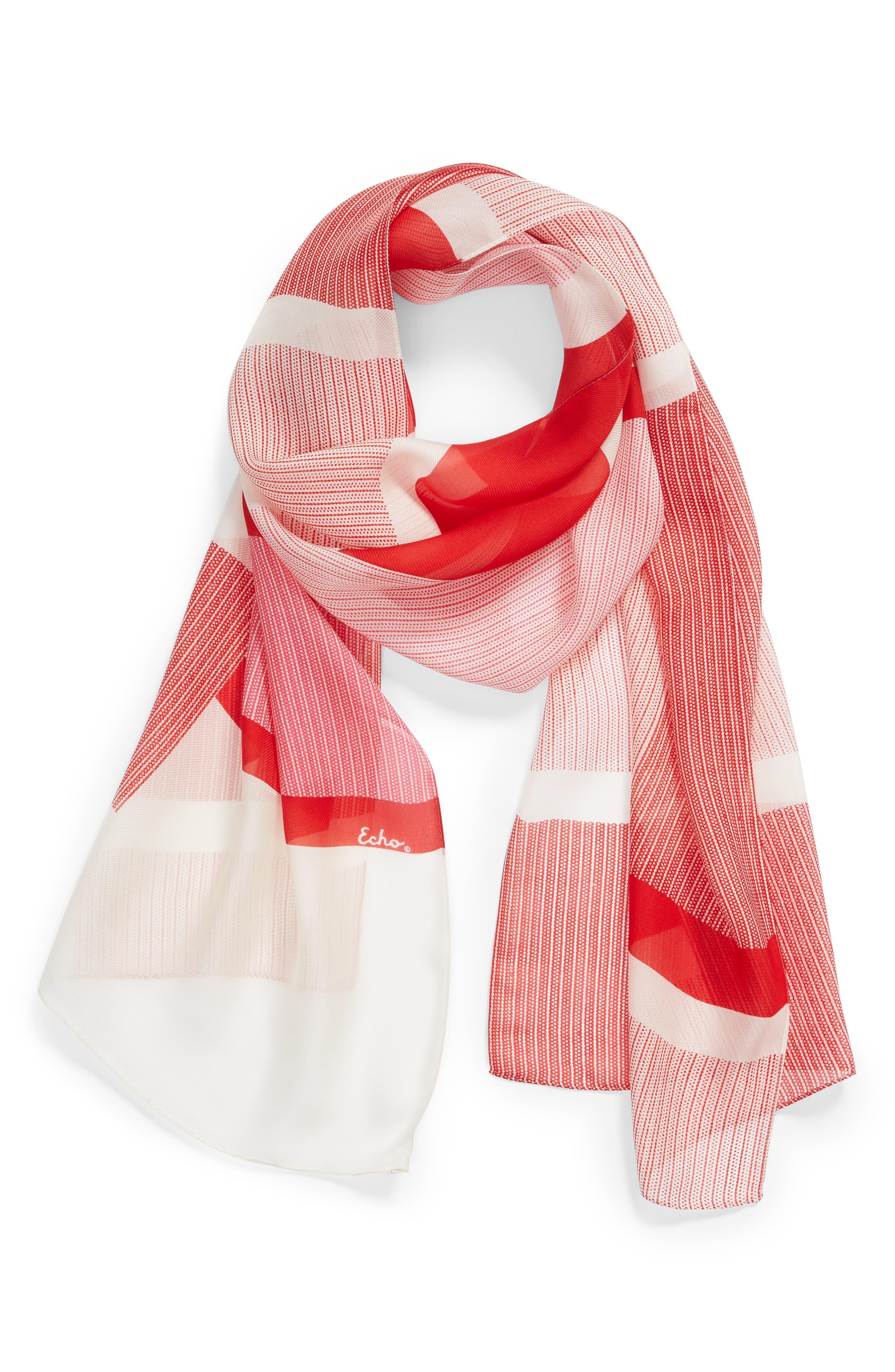 ECHO, Dotty Stripe Silk Scarf, Alternate thumbnail 2, color, RESORT RED