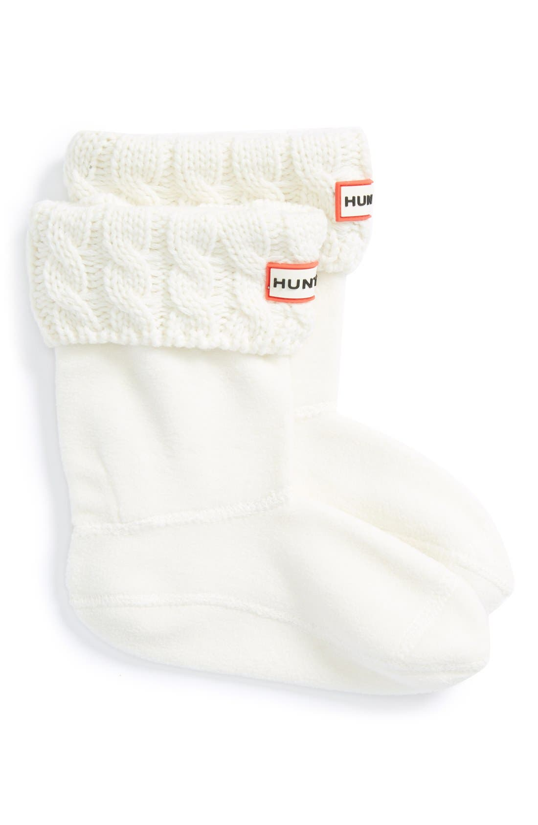 Girls Hunter Cable Knit Cuff Welly Boot Socks Size XL (46)  White