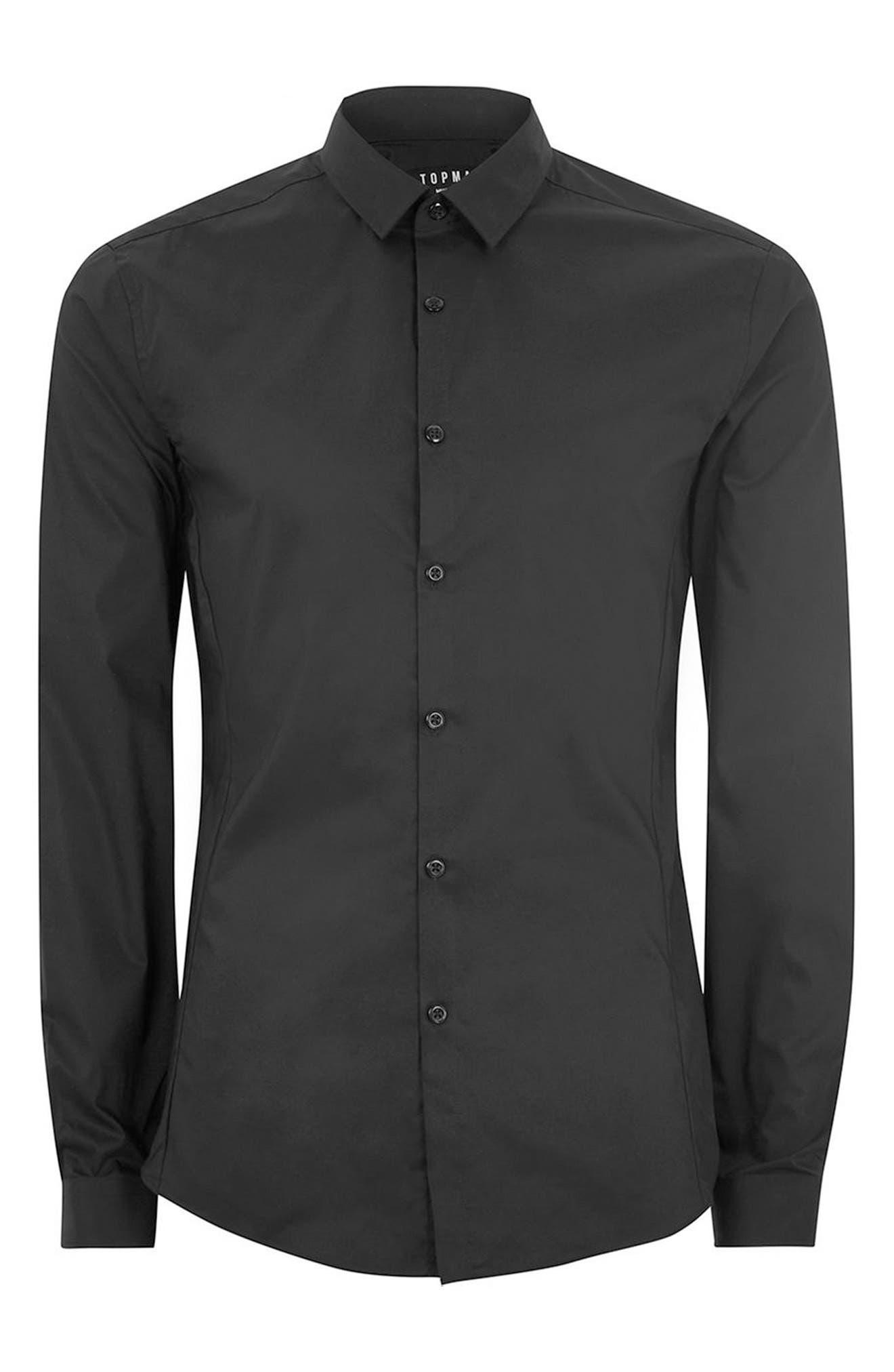 TOPMAN, Muscle Fit Stretch Poplin Shirt, Alternate thumbnail 4, color, BLACK