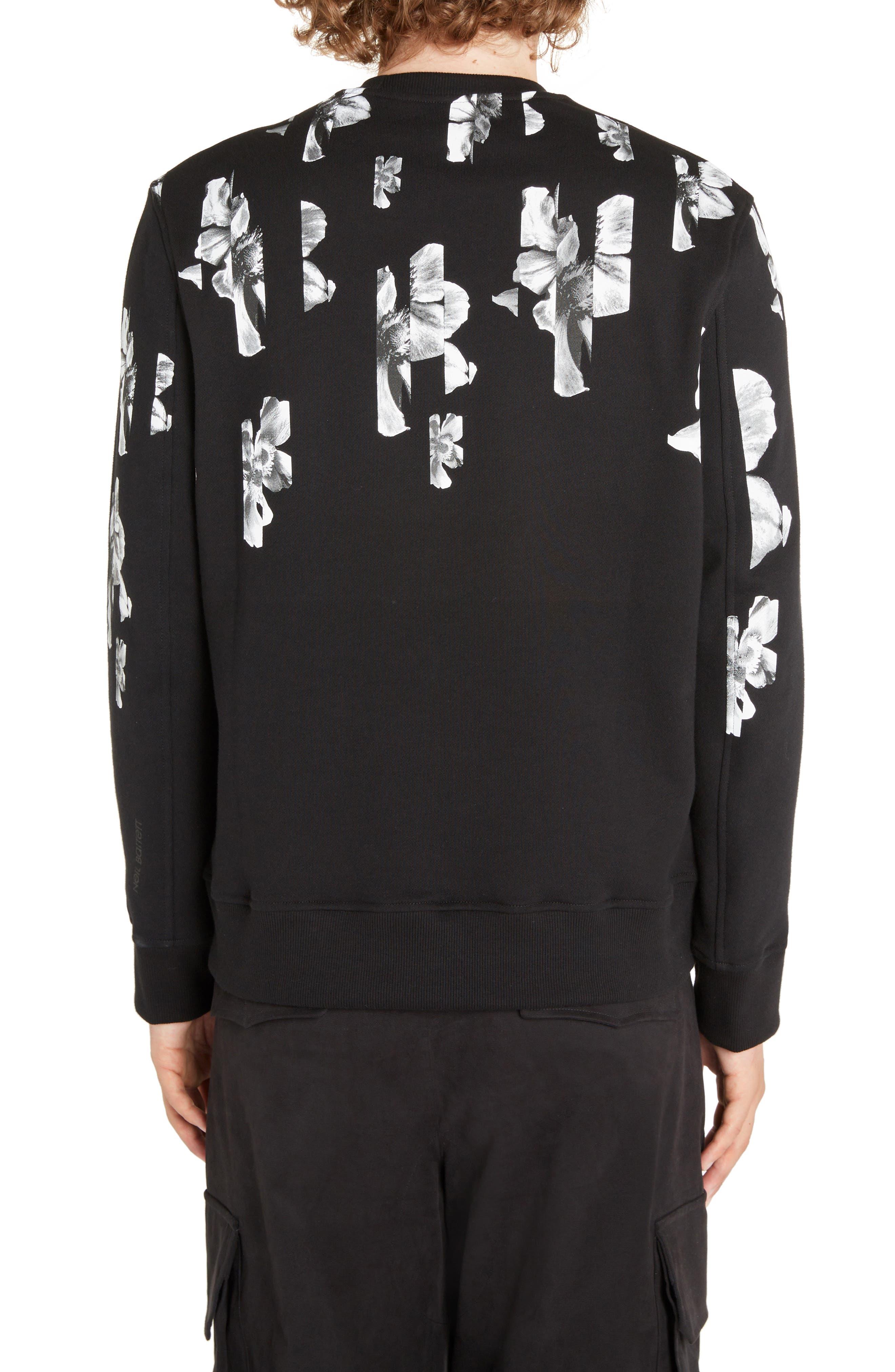 NEIL BARRETT, Abstract Flower Print Sweatshirt, Alternate thumbnail 2, color, BLACK/ WHITE