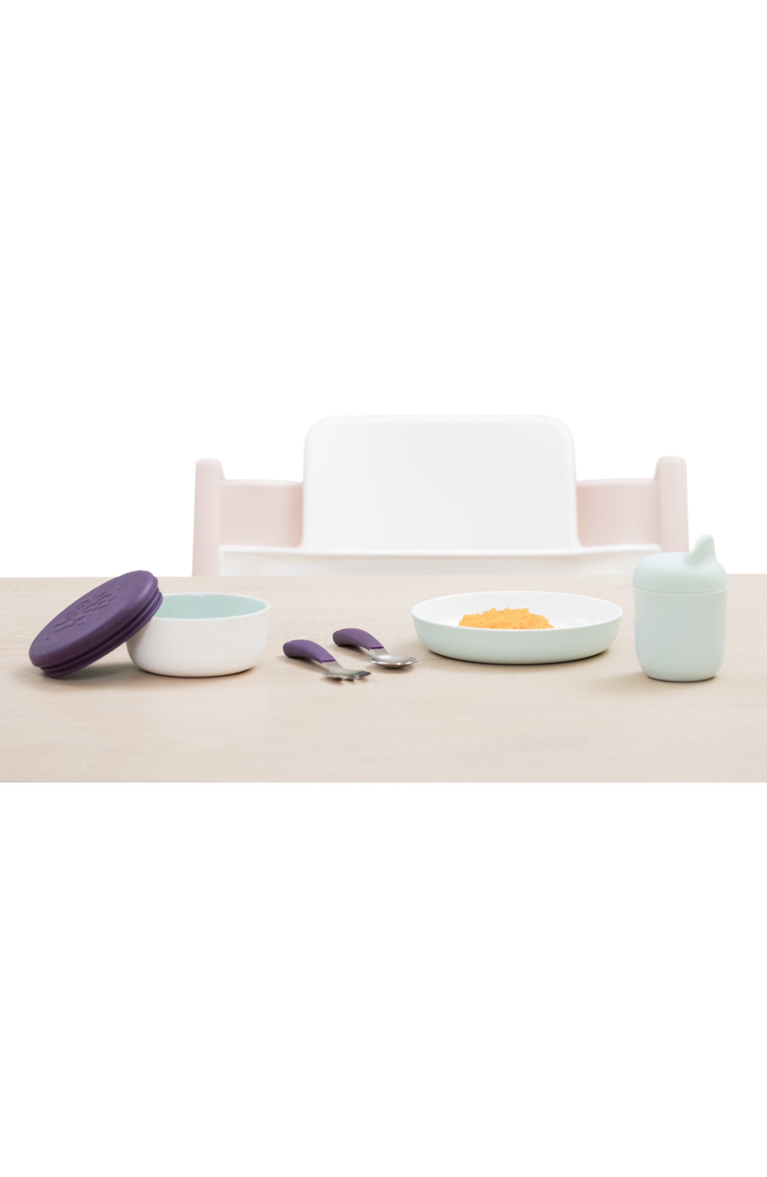 STOKKE, Munch Complete Lidded Bowl, Sippy Cup, Plate, Fork & Spoon Set, Alternate thumbnail 8, color, SOFT MINT