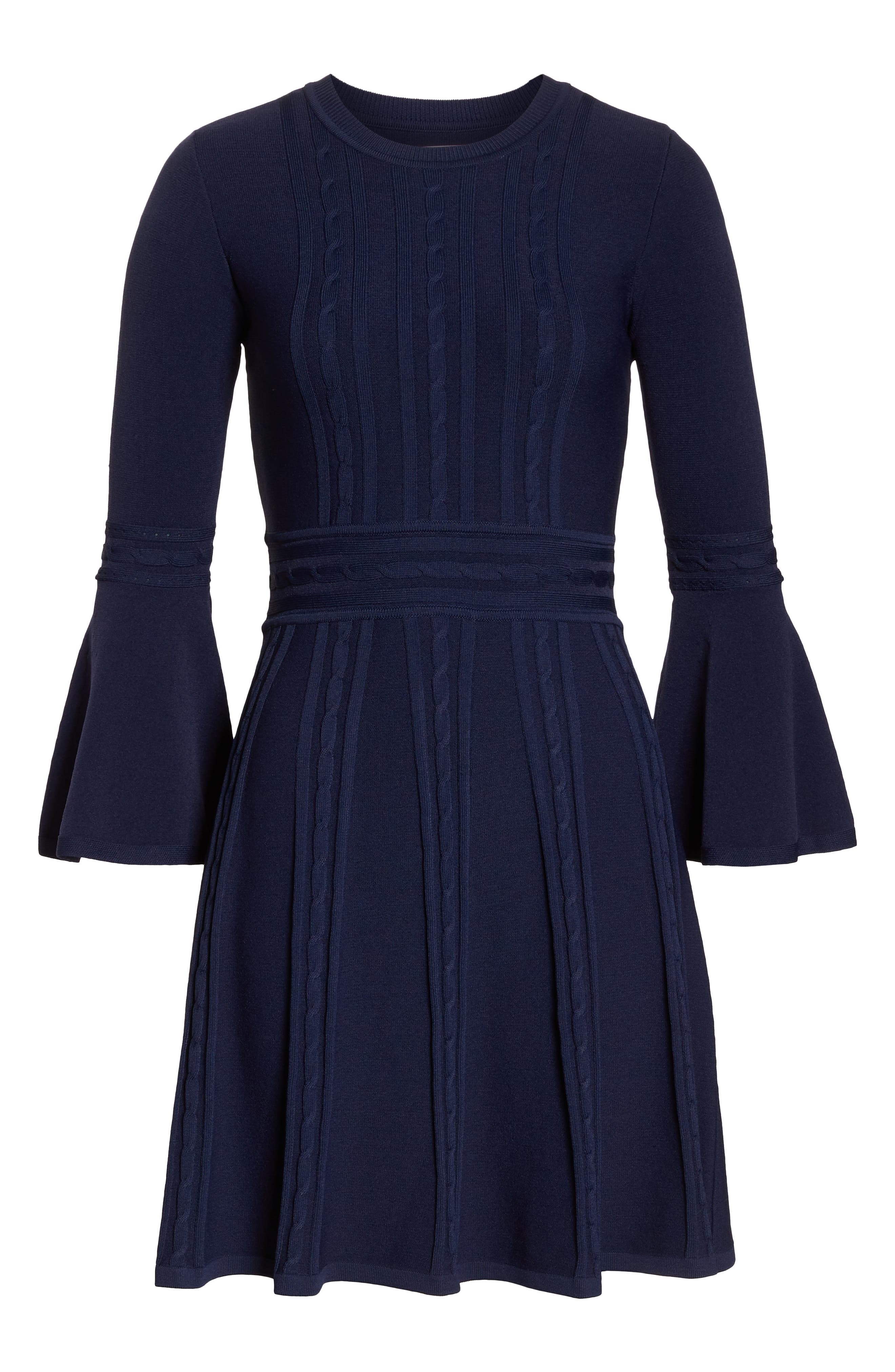 ELIZA J, Bell Sleeve Sweater Dress, Alternate thumbnail 7, color, 410