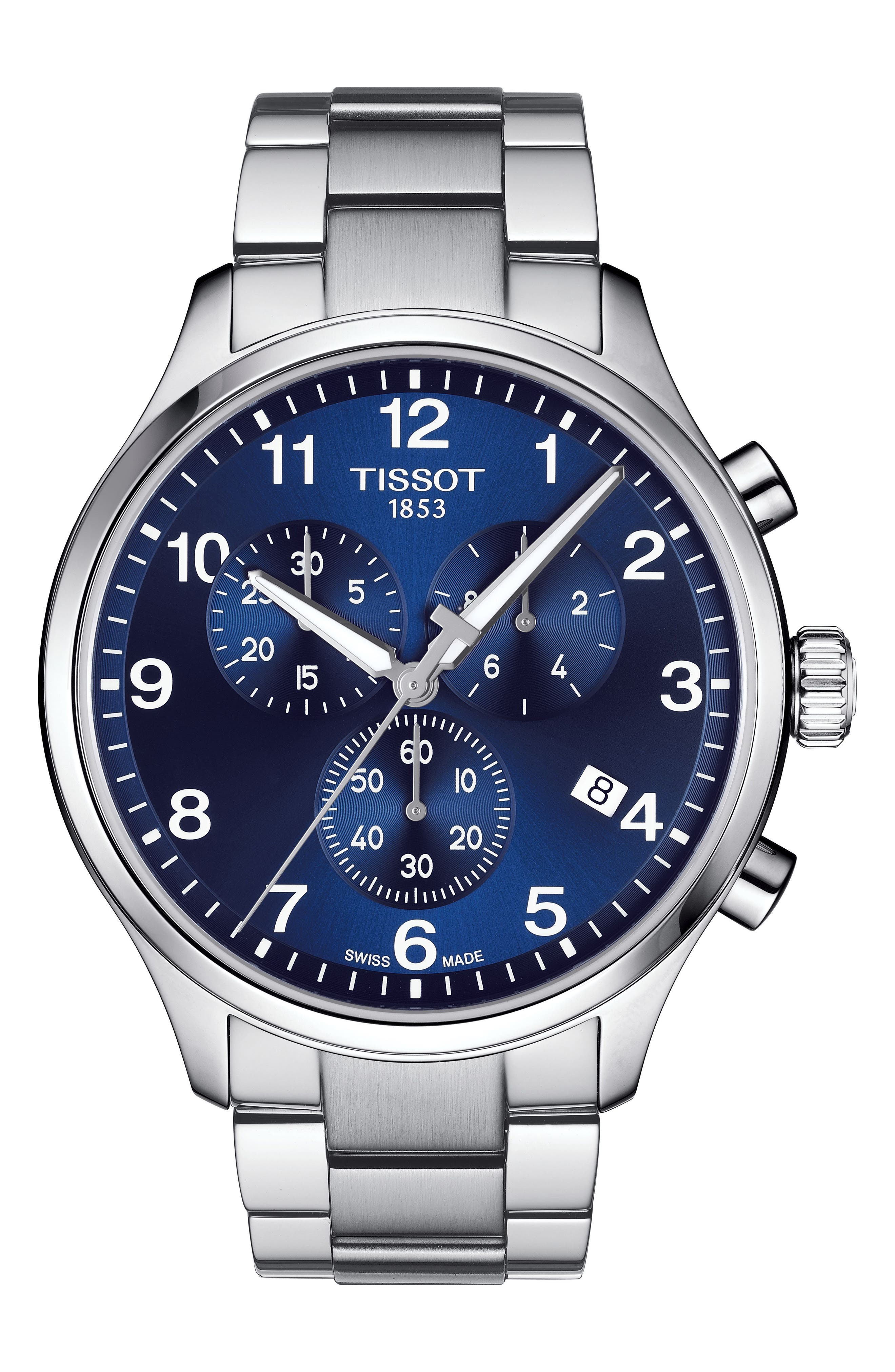 TISSOT Chrono XL Collection Chronograph Bracelet Watch, 45mm, Main, color, SILVER/ BLUE/ SILVER
