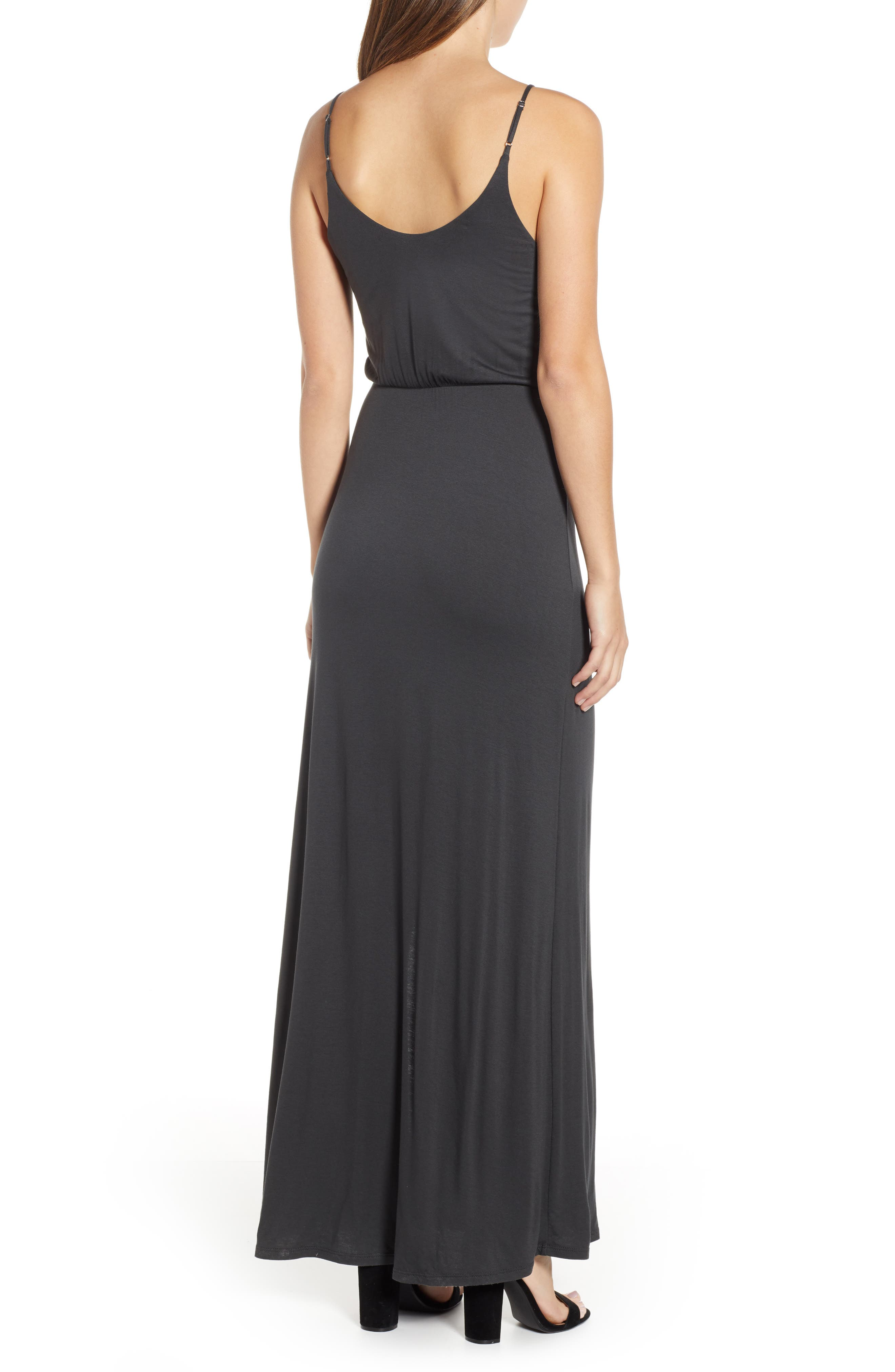ALL IN FAVOR, Surplice Neck Knit Maxi Dress, Alternate thumbnail 2, color, CHARCOAL