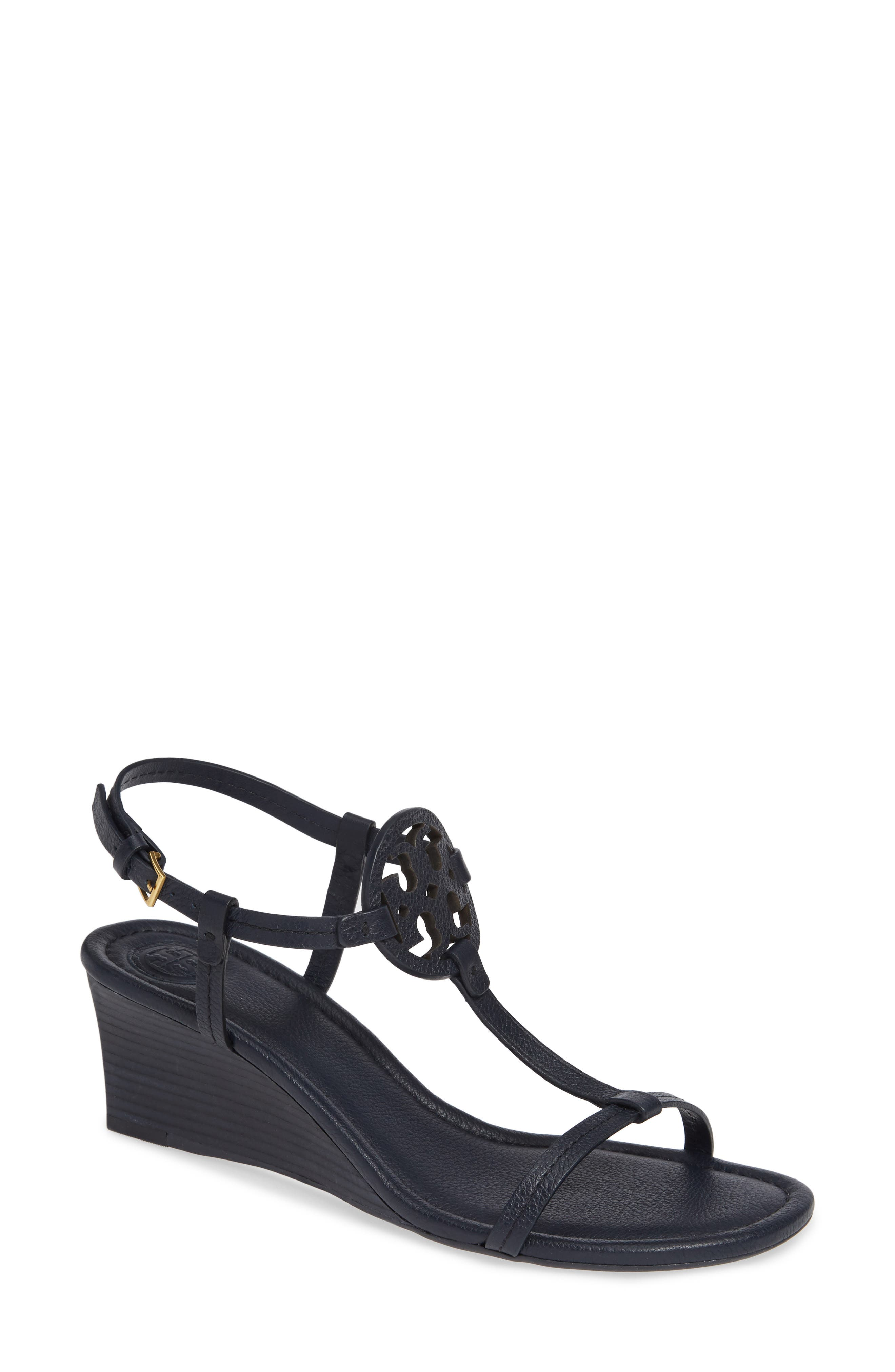 TORY BURCH, Miller Wedge Sandal, Main thumbnail 1, color, PERFECT NAVY